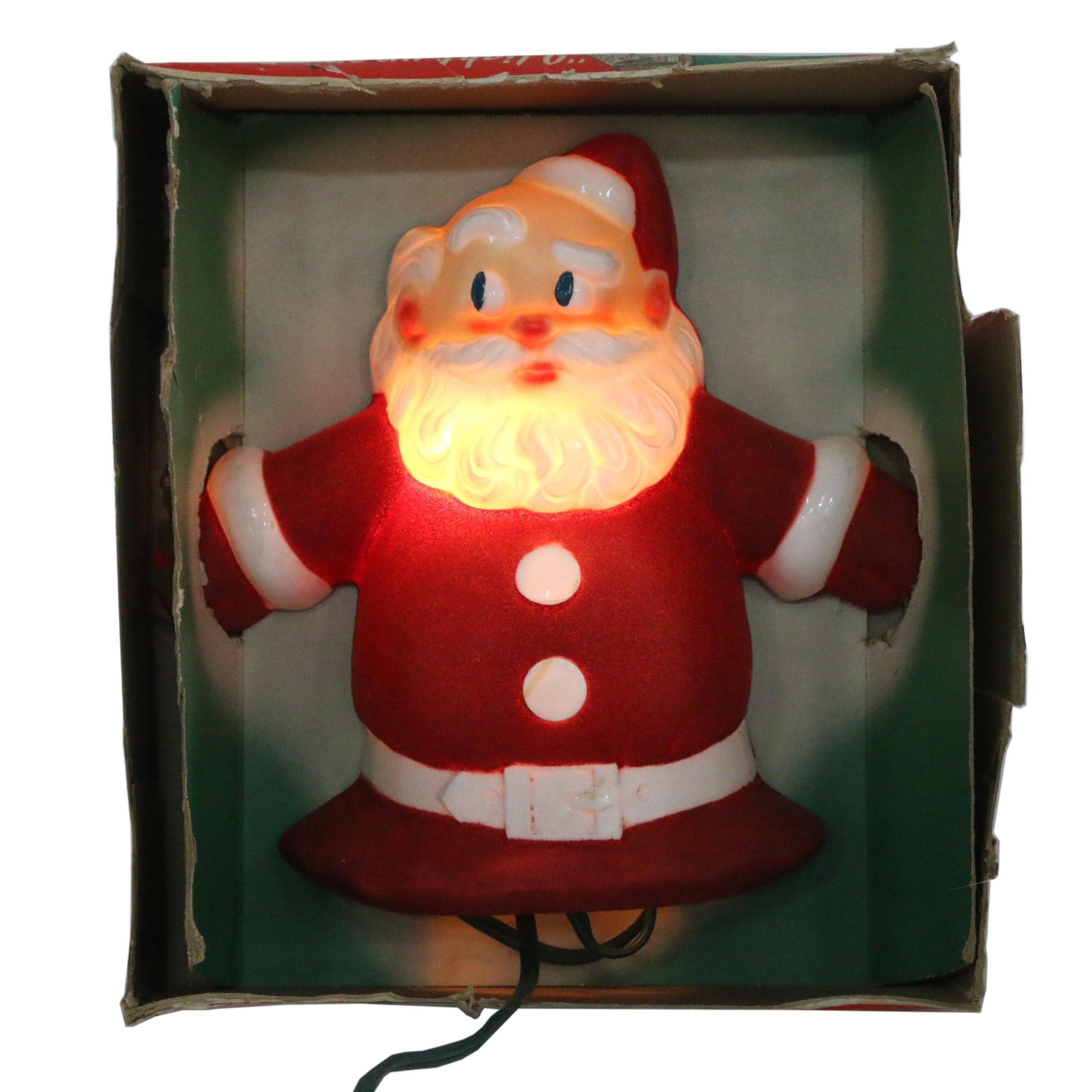 Santa-Glo Light-Up Christmas Tree Topper/Wall Plaque from Glolite Corp., c.1940s