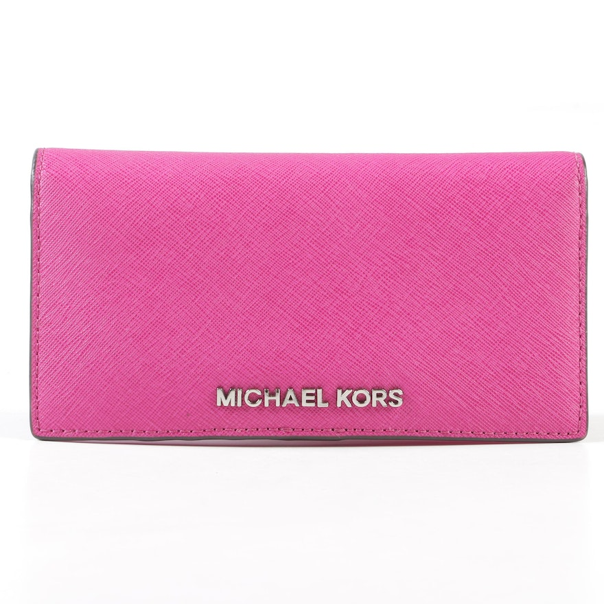 e1abf4a20c73c0 Michael Kors Fuschia Saffiano Leather Bifold Snap Wallet : EBTH