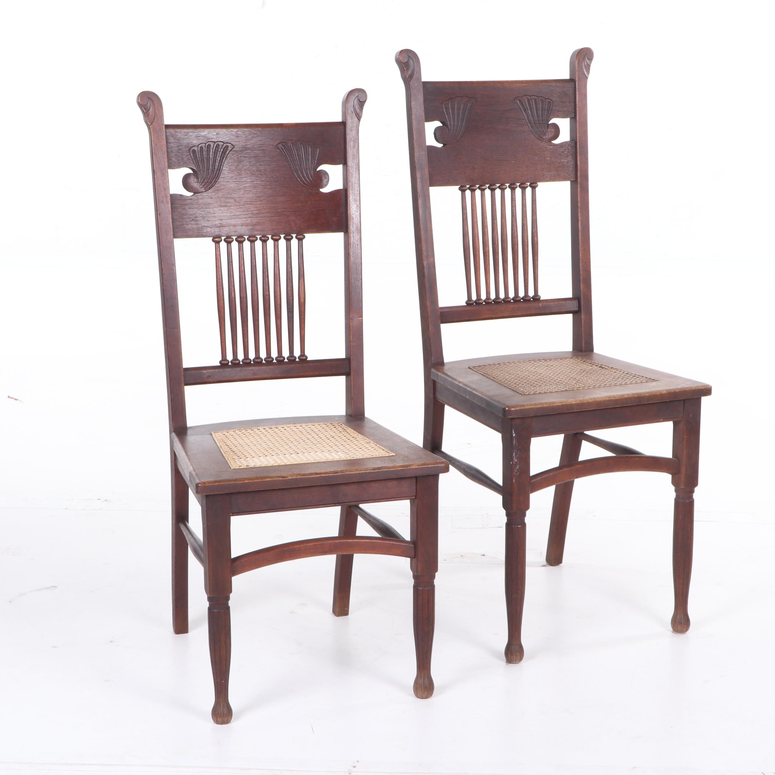Black Walnut Half-Spindle Back Side Chairs, Early 20th Century