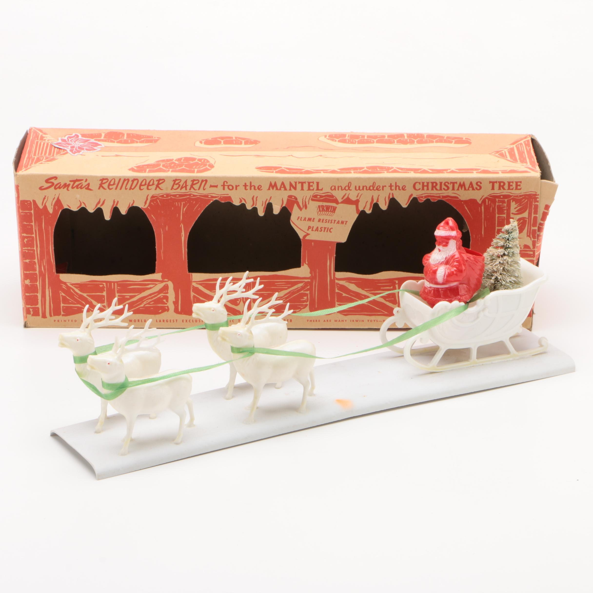 "Irwin Toys ""Santa's Reindeer Barn"" Mantel Ornament, Mid-Century"