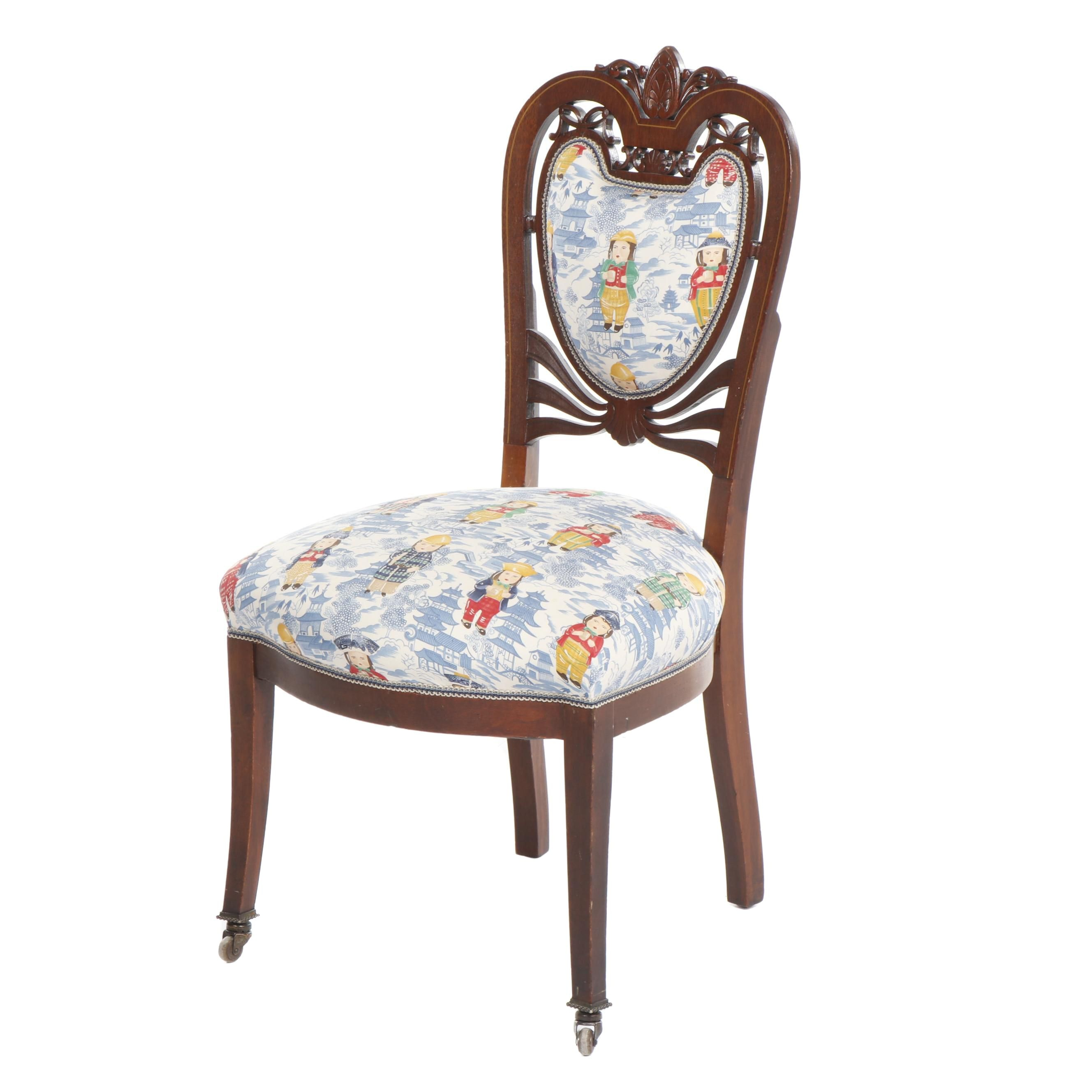 Chippendale Style Carved Mahogany Chair with Upholstered Seat and Back