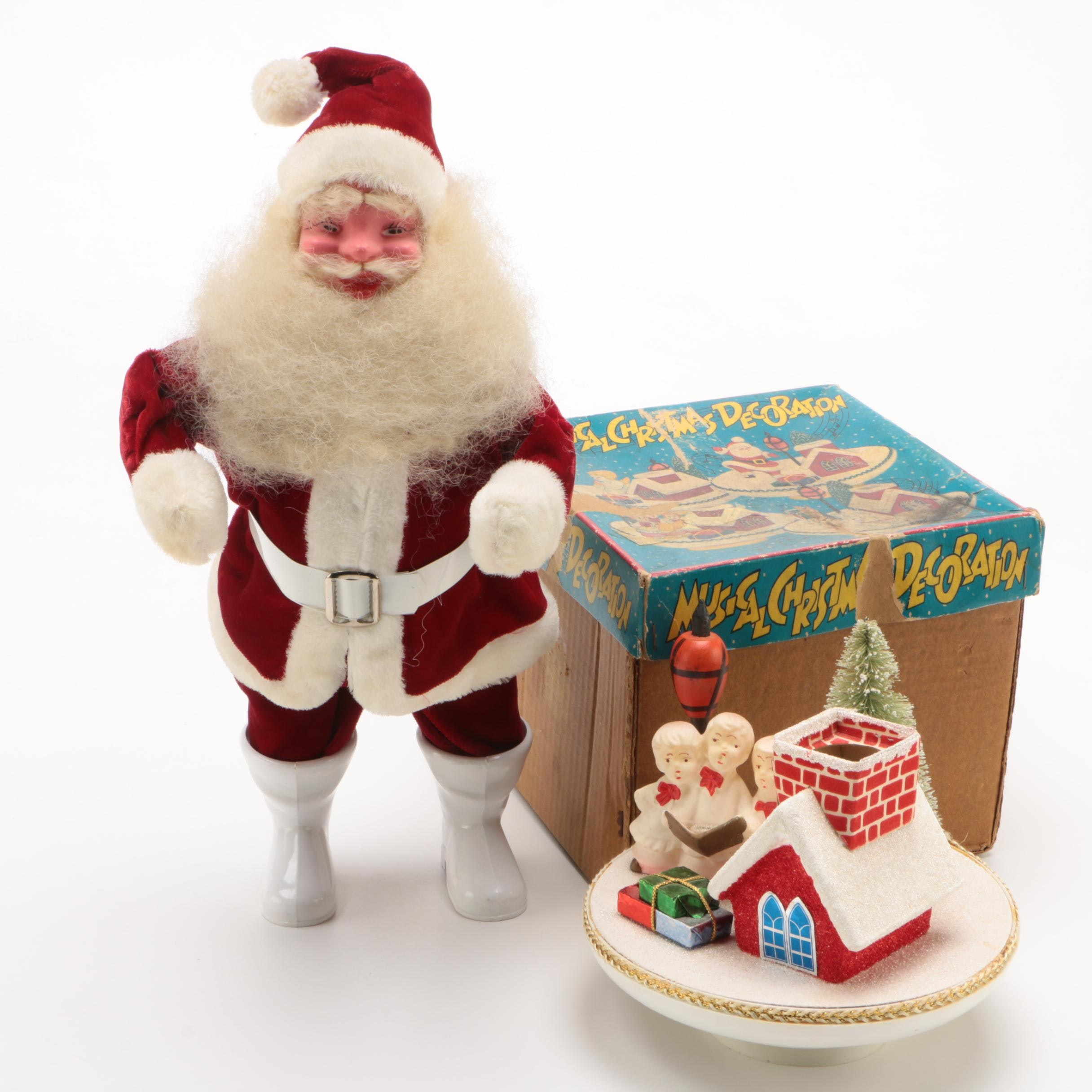Santa Ornament and Musical Christmas Decoration, Mid-Century