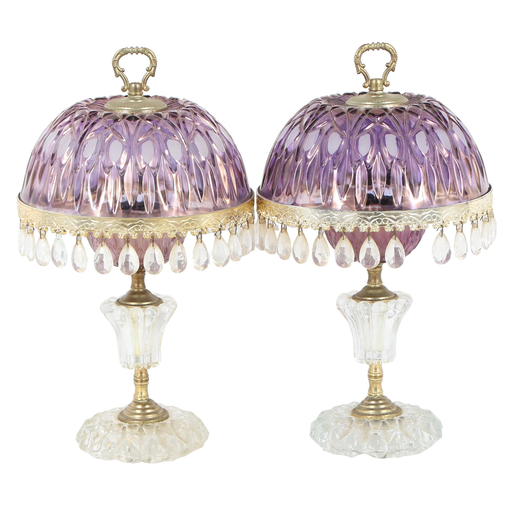 Lavender Tint Glass Boudoir Lamps with Teardrops, Mid 20th Century