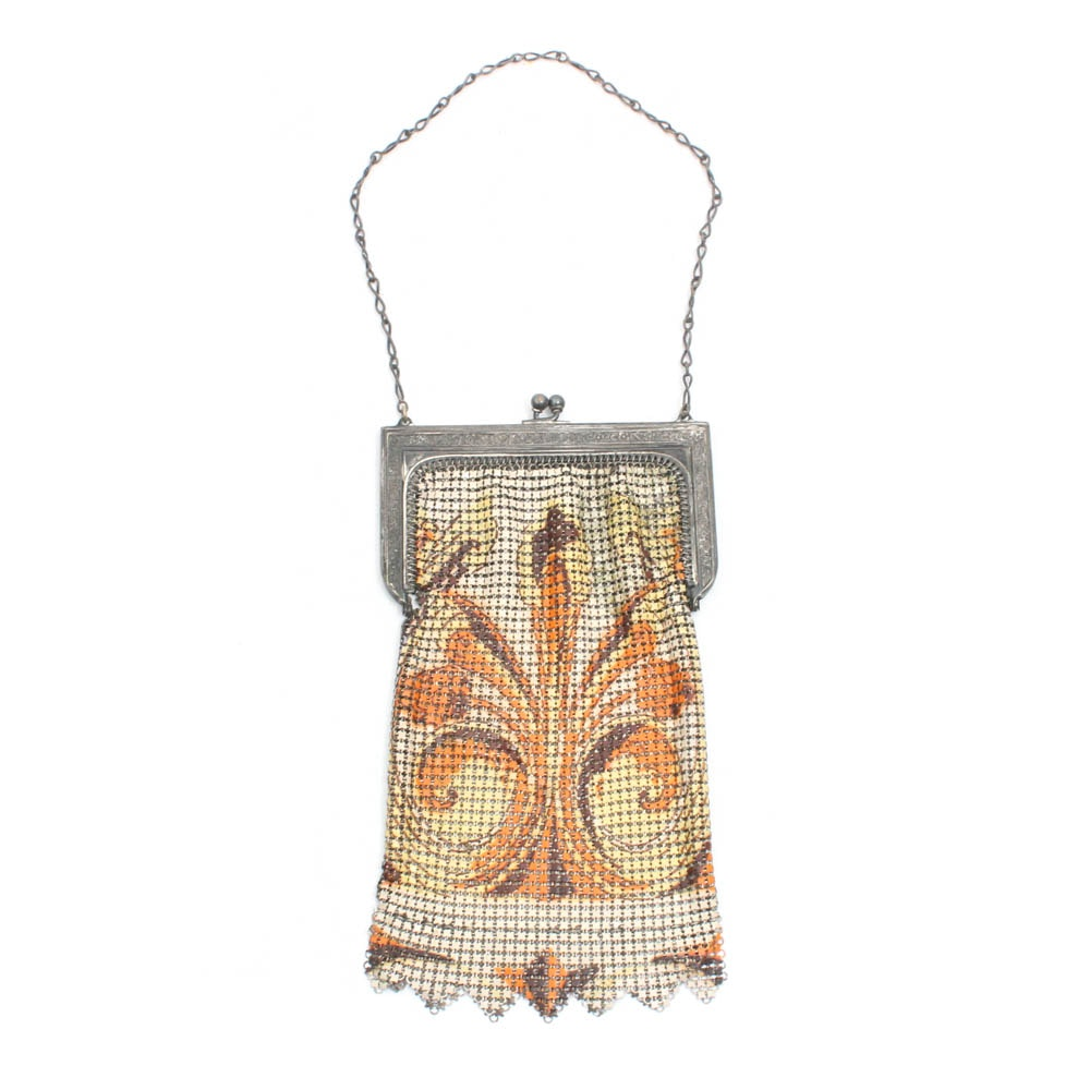 Whiting & Davis Enameled on Mesh Purse with Chain Strap, circa 1920s