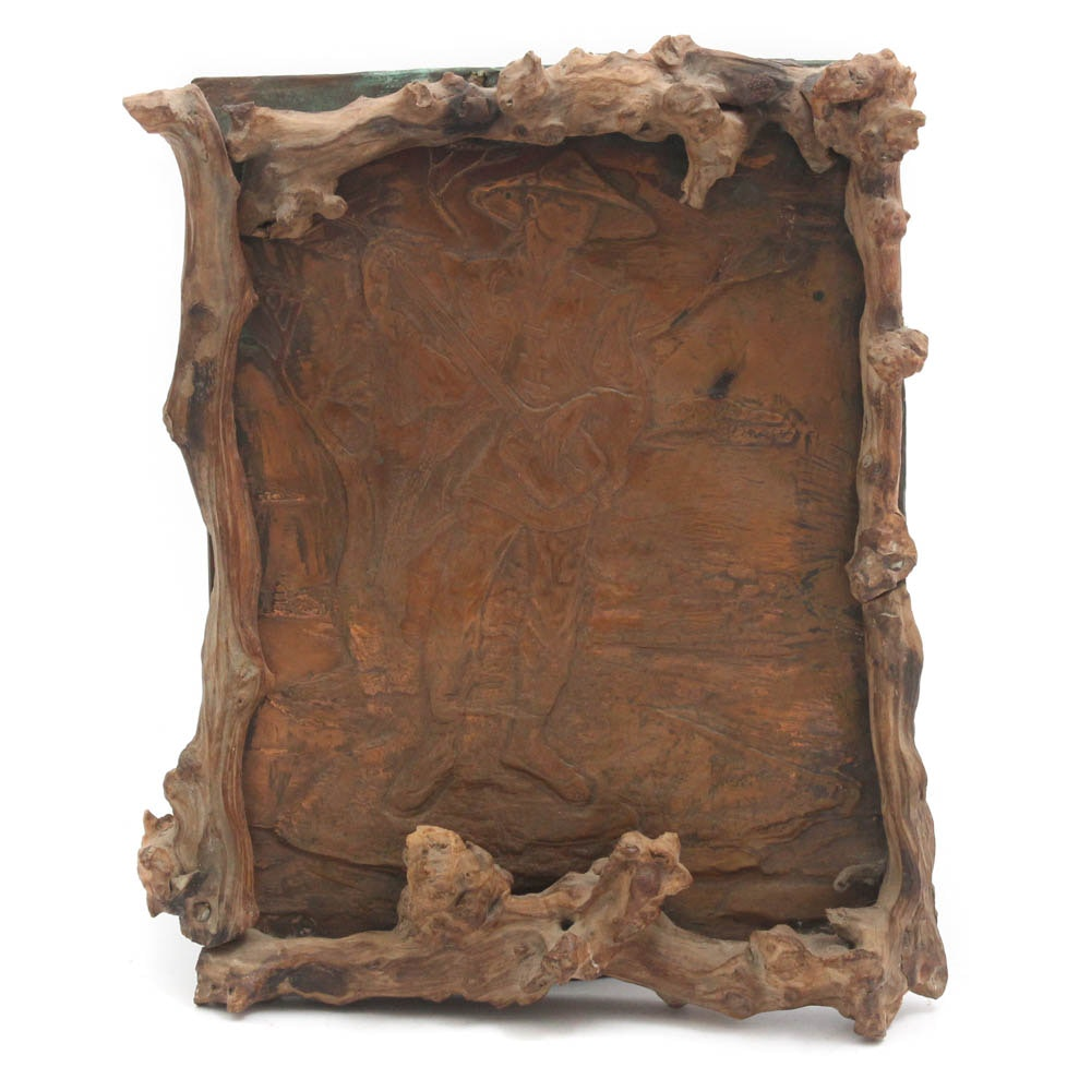 Chinese Inspired Impressed Copper Wall Decor in Rustic Wood Frame