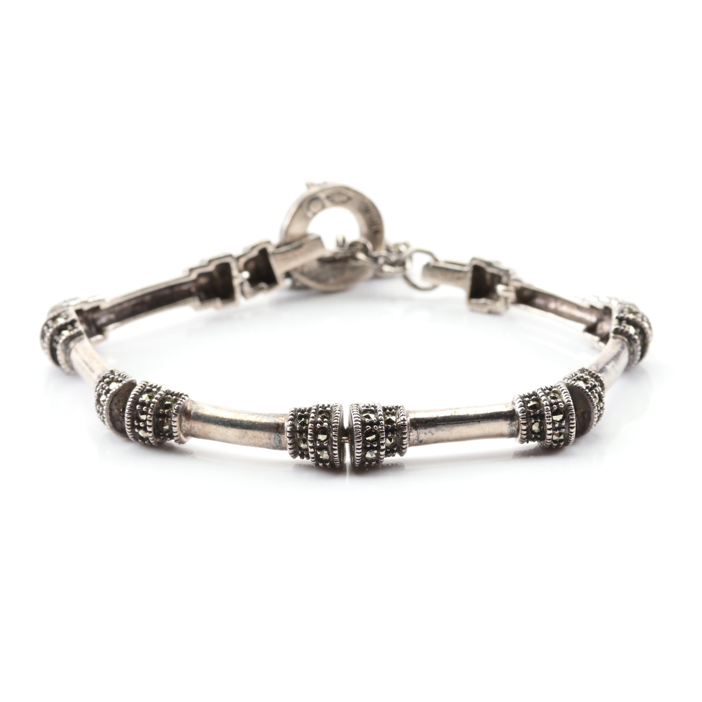Judith Jack Sterling Silver Marcasite Link Bracelet