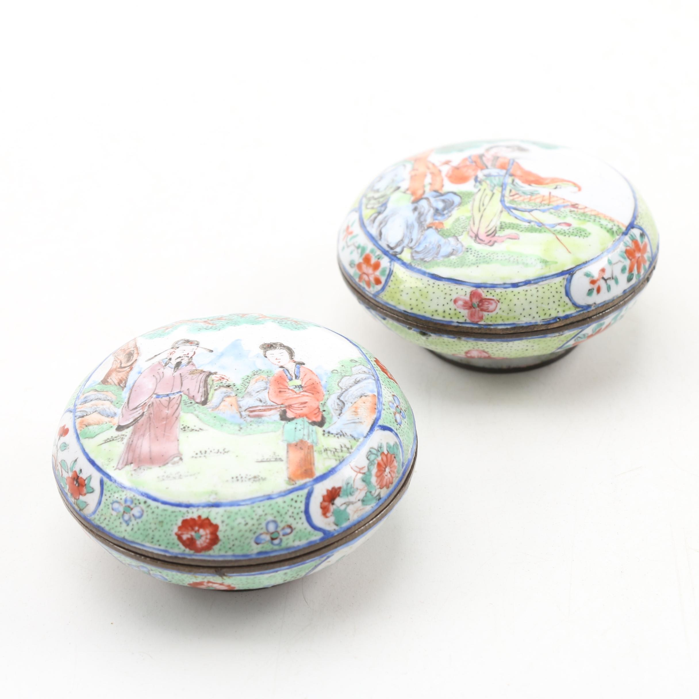 Chinese Canton Hand-Painted Enameled Seal Paste Boxes, Qing Dynasty