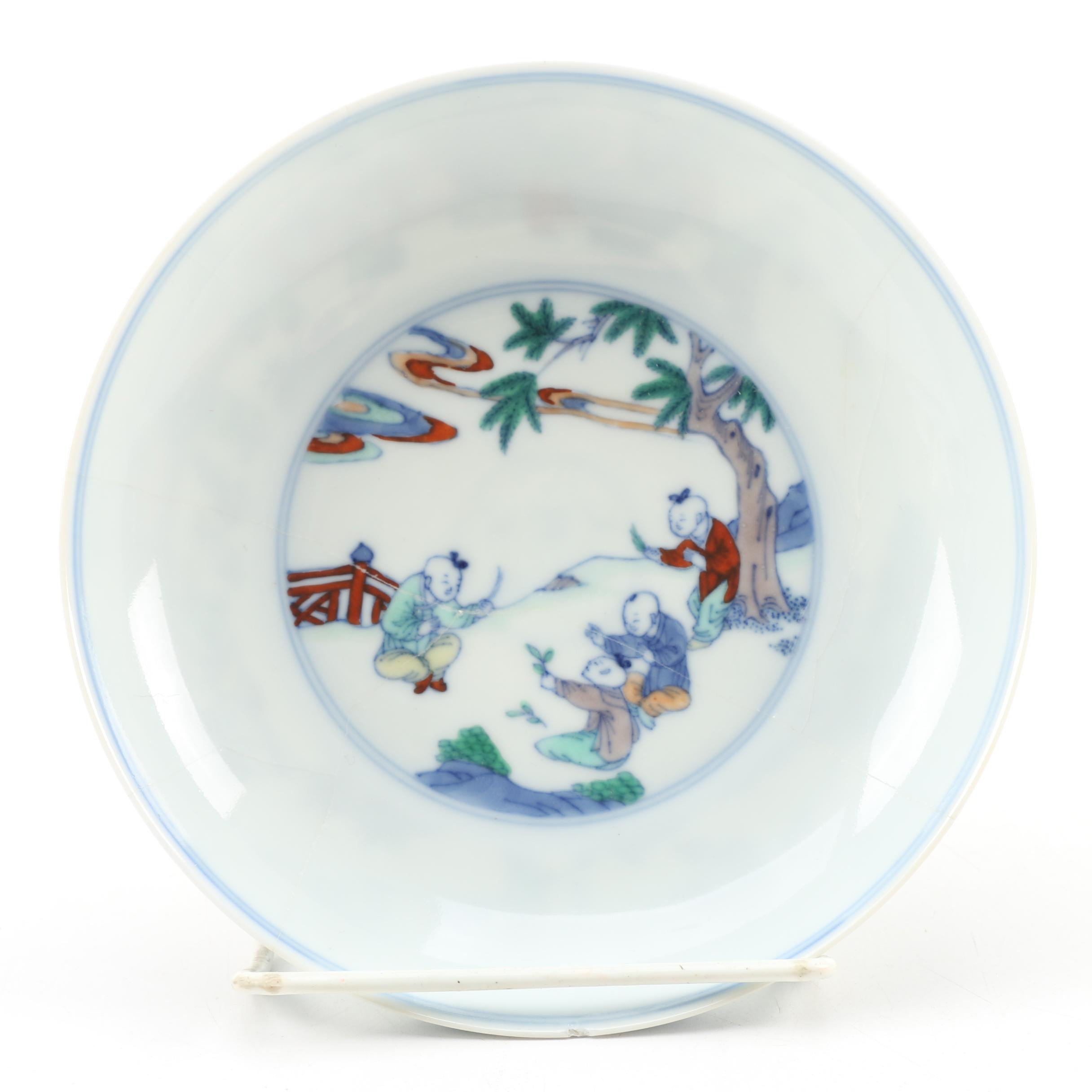 Chinese Doucai Porcelain Dish with Polychrome Enamels, 17th/18th Century