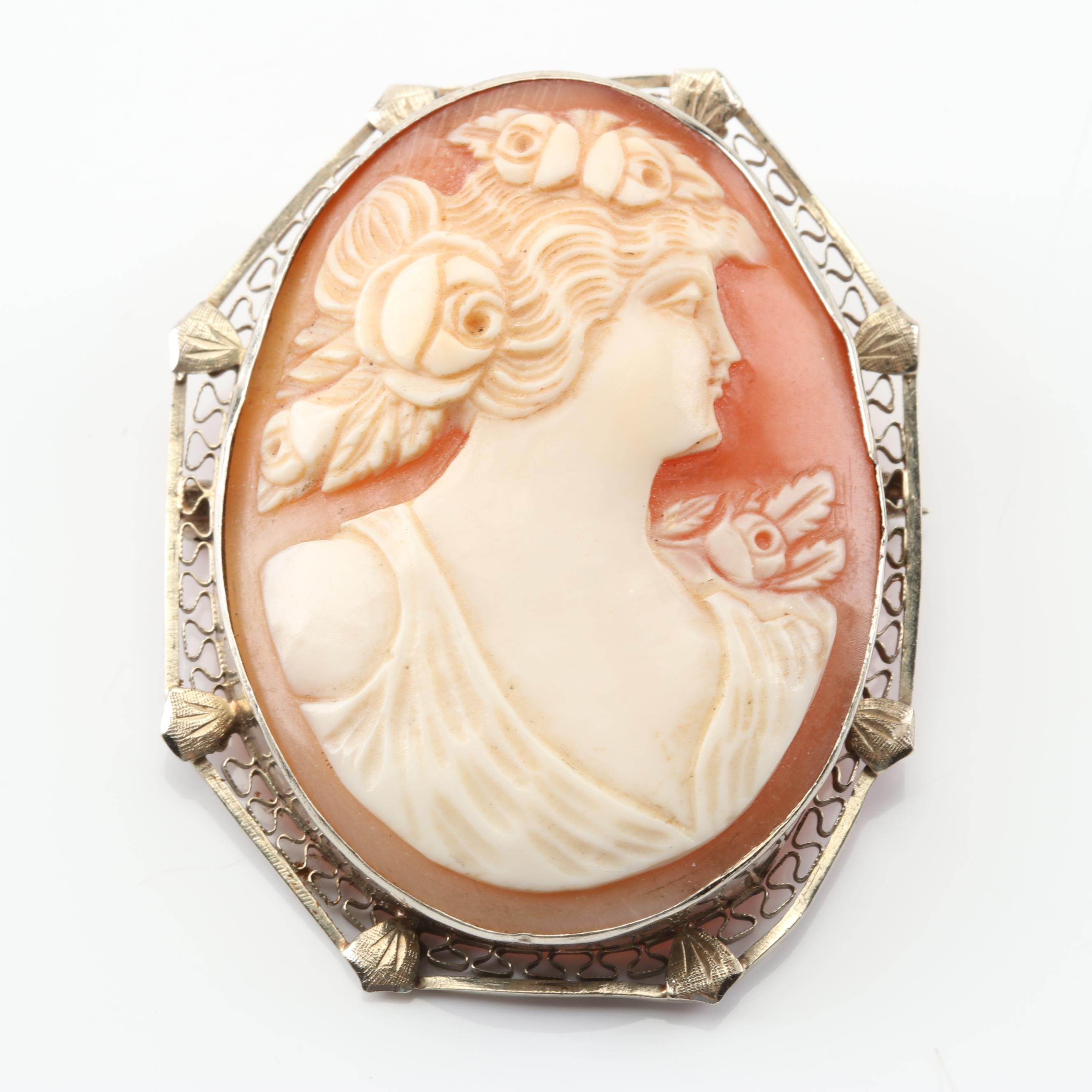14K White Gold Shell Cameo Brooch
