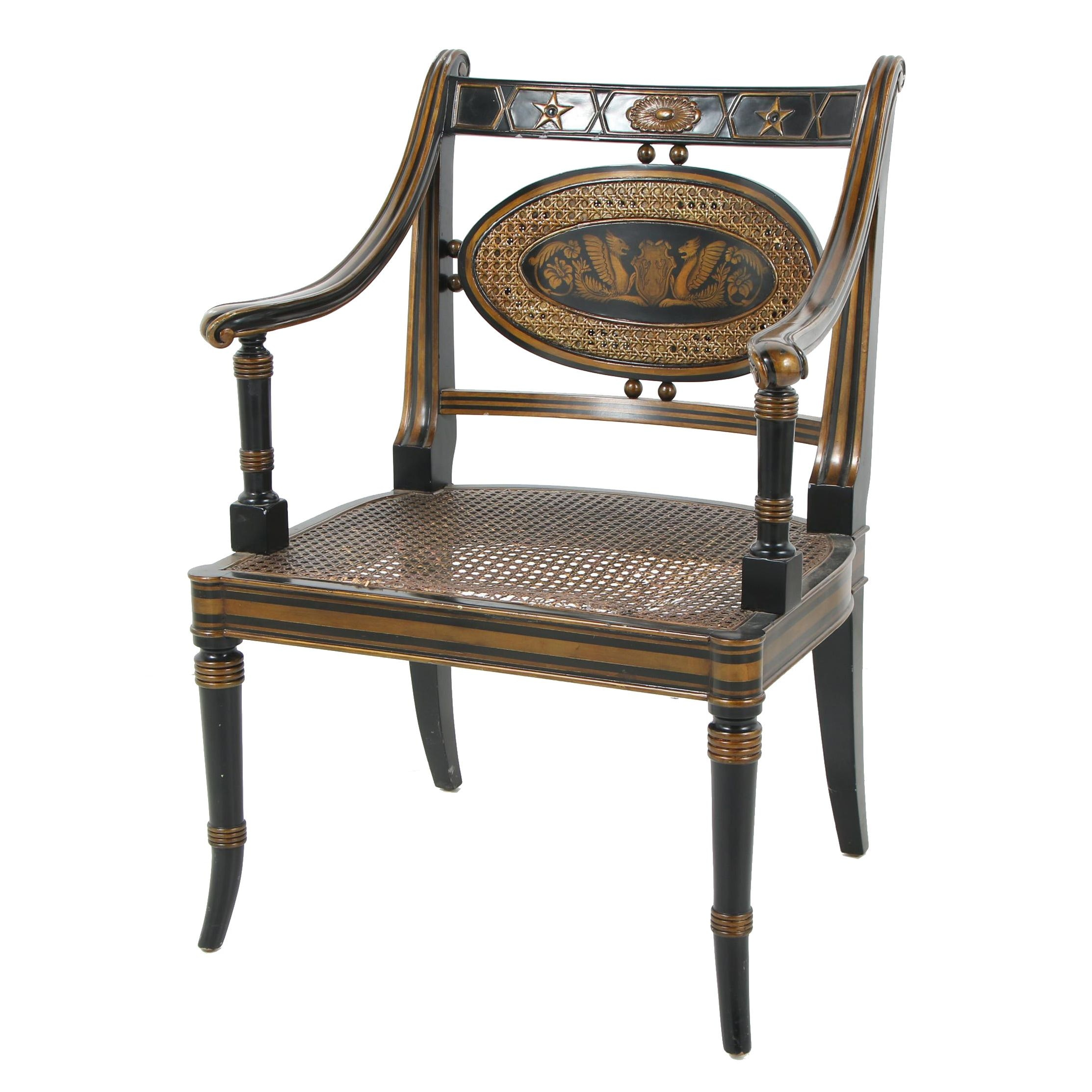 Sheraton Hitchcock Style Cane Seat Armchair Featuring Dragon Motif, Contemporary