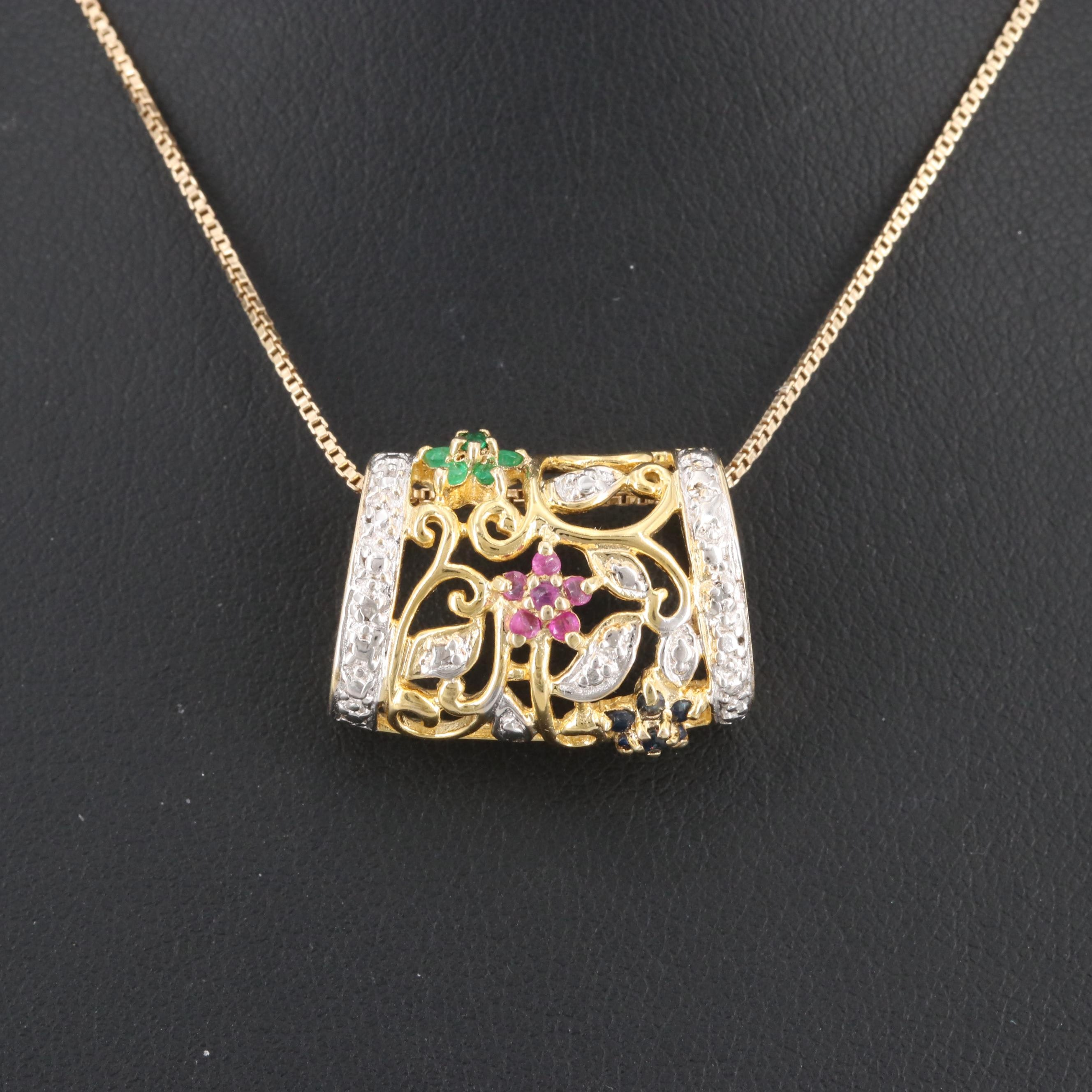 Gold Wash on Sterling Emerald, Ruby, Sapphire and Diamond Pendant Necklace