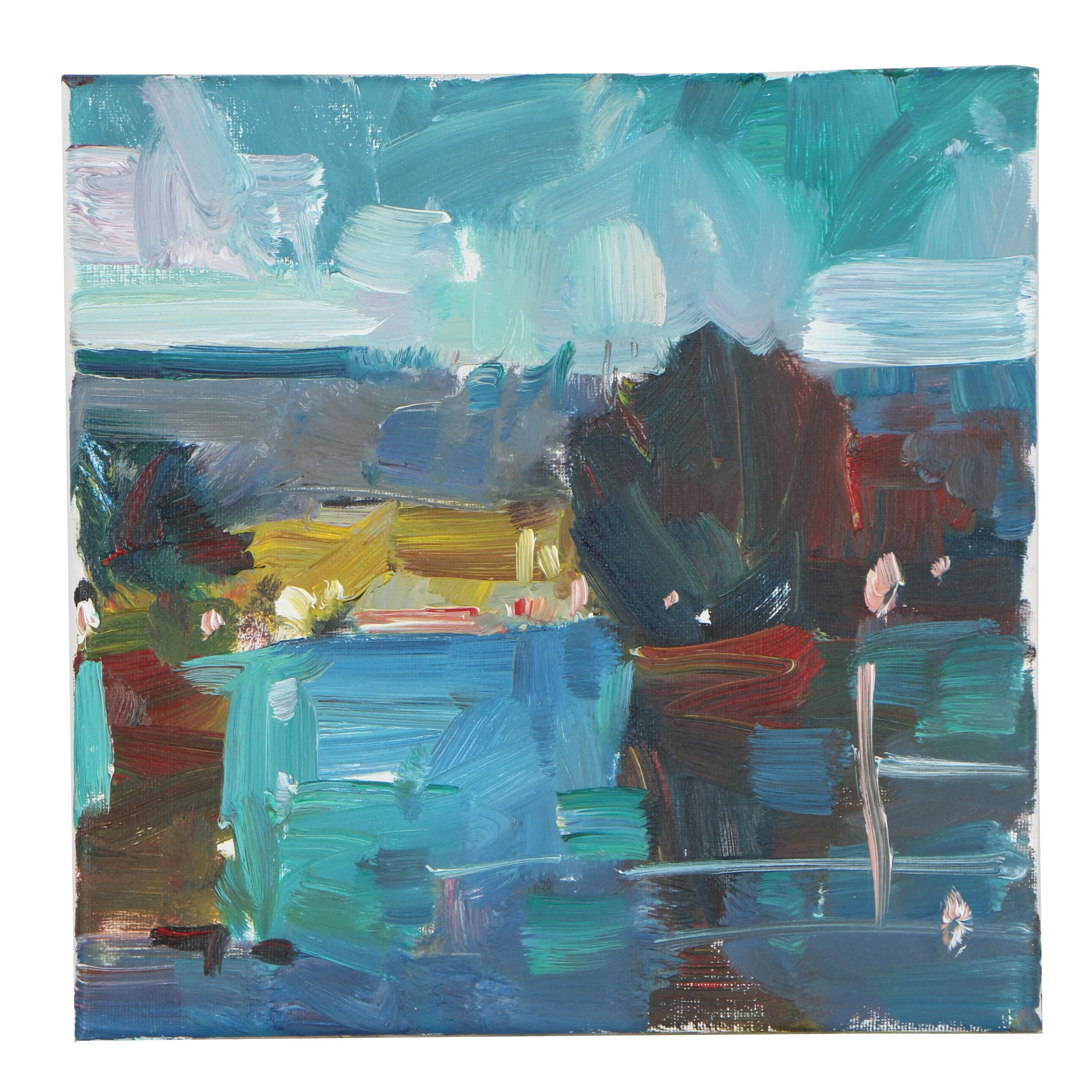 "Jose Trujillo Oil Painting ""Lake Morning"""
