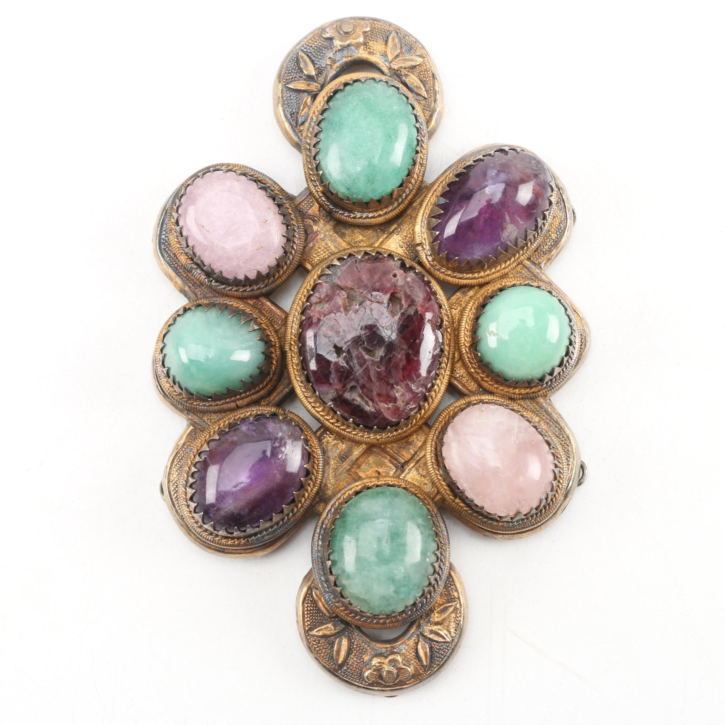 "Chinese Gilt Copper ""Endless Knot"" Ornament with Jade and Amethyst, Qing Dynasty"