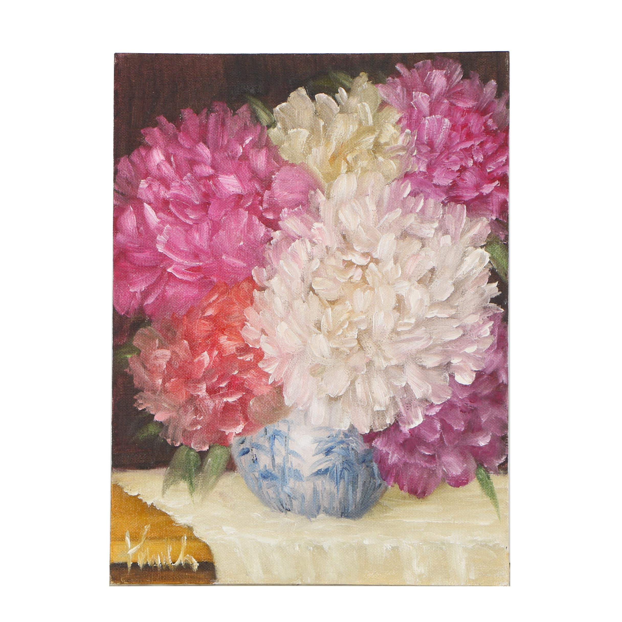 "Thuthuy Tran Oil Painting ""Peonies in Late December"""