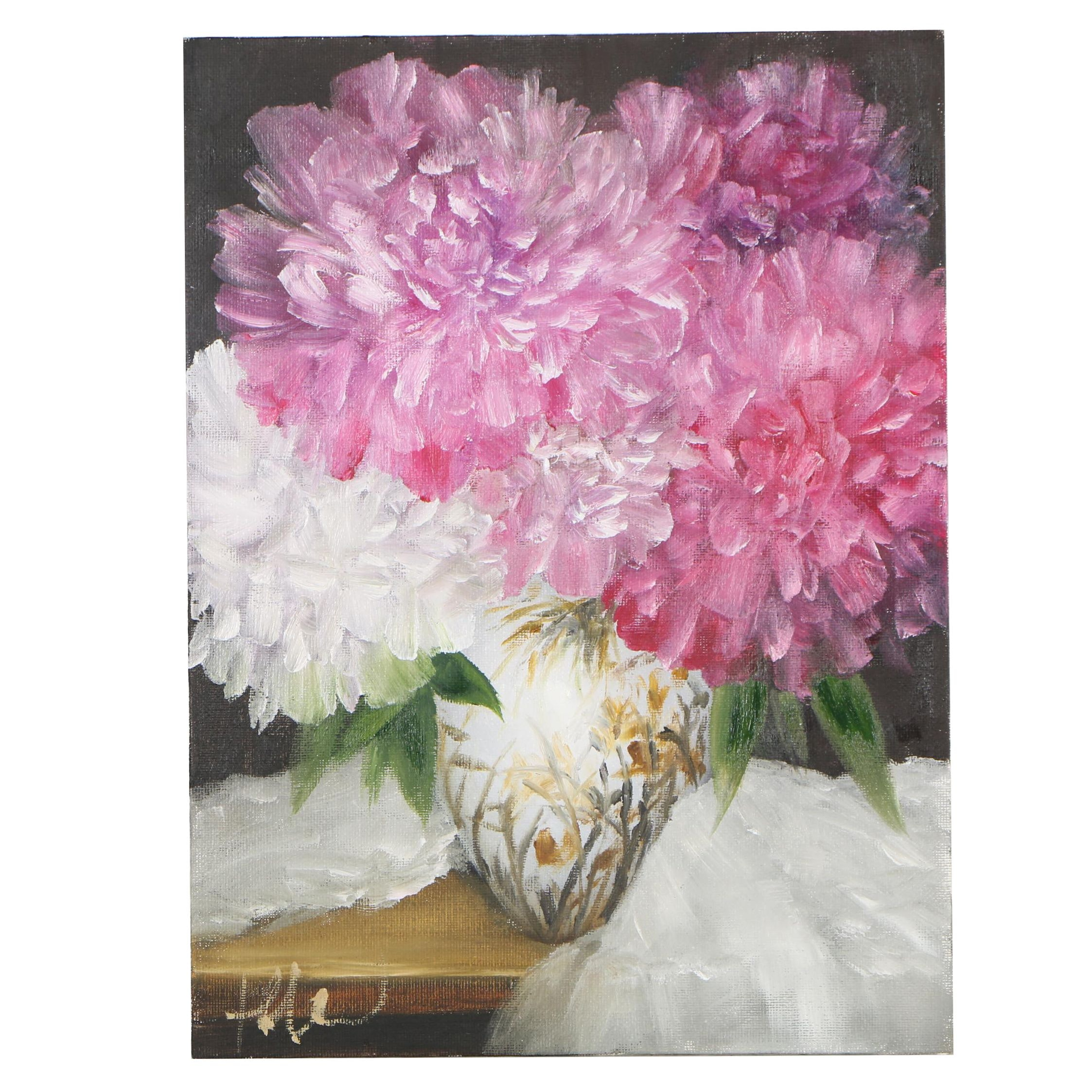 """Thuthuy Tran Oil Painting """"Peonies for Monday Night"""""""