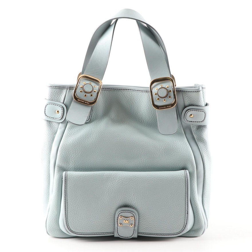 6cea3eabcd2a MICHAEL Michael Kors Light Blue Pebbled Leather Tote Bag : EBTH