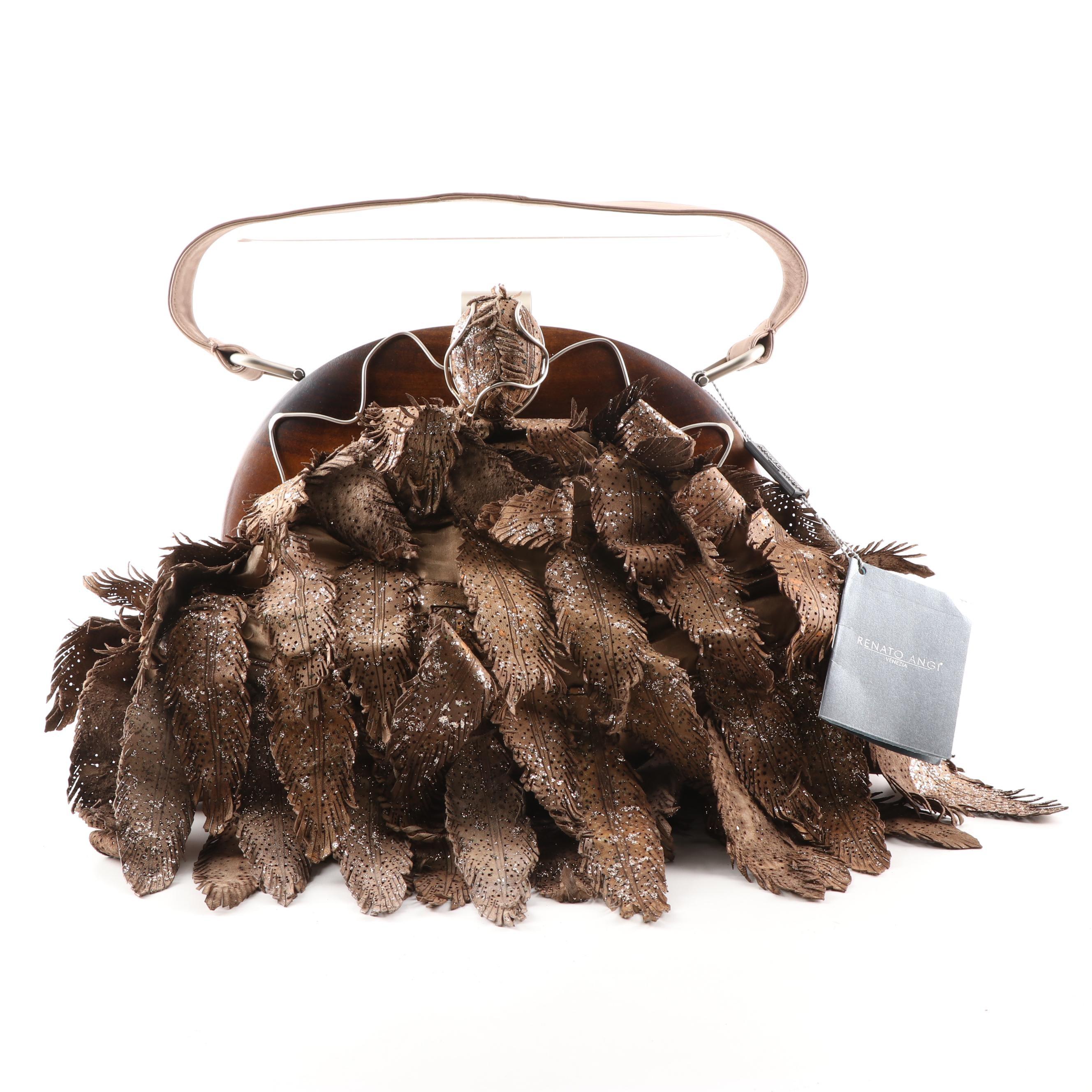 Renato Angi Metallic Feathered Mocha Leather Handbag with Wood Frame