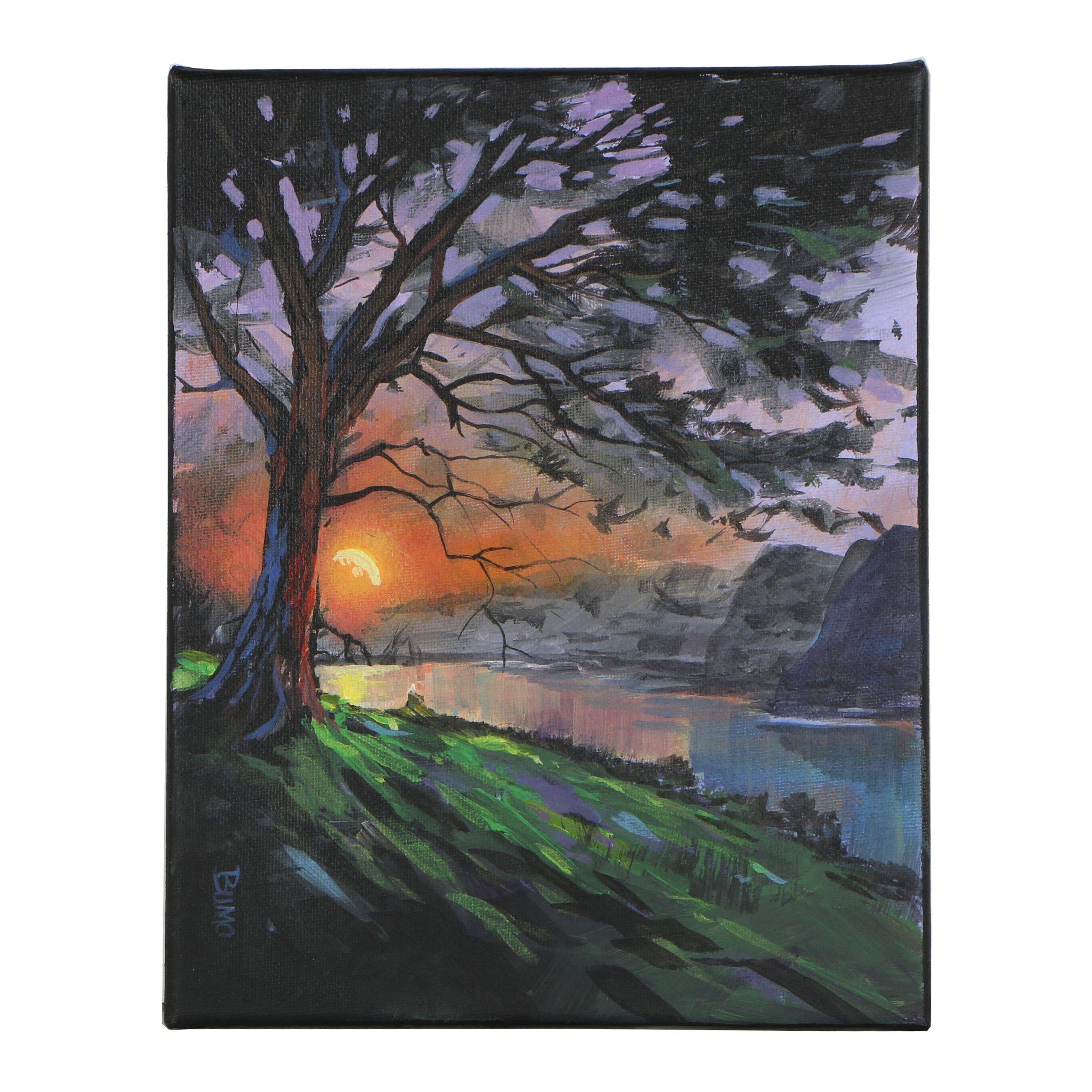 """Douglas """"Bumo"""" Johnpeer Oil Painting """"Hillside Lake"""""""