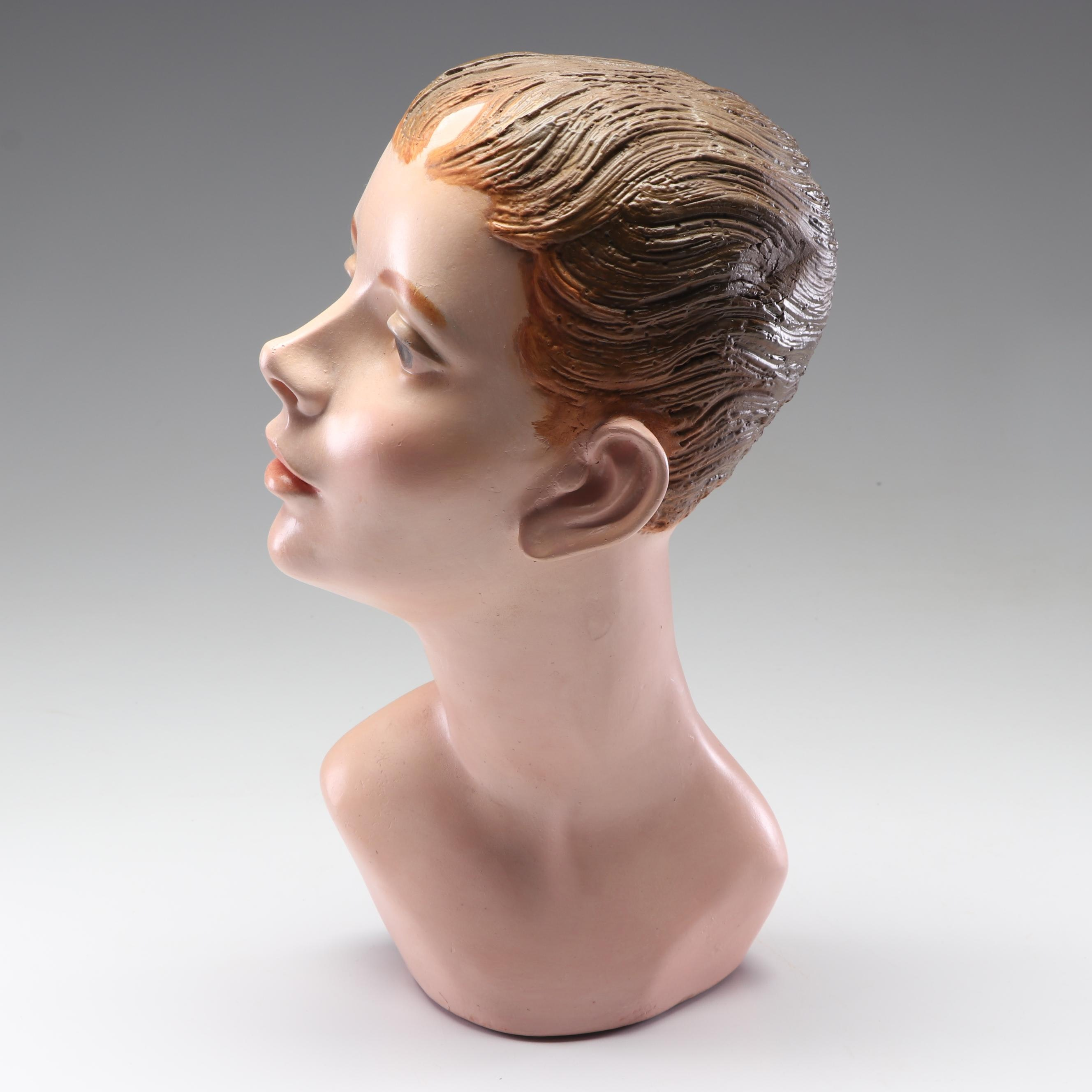 Plaster Female Mannequin Head, Mid-20th Century