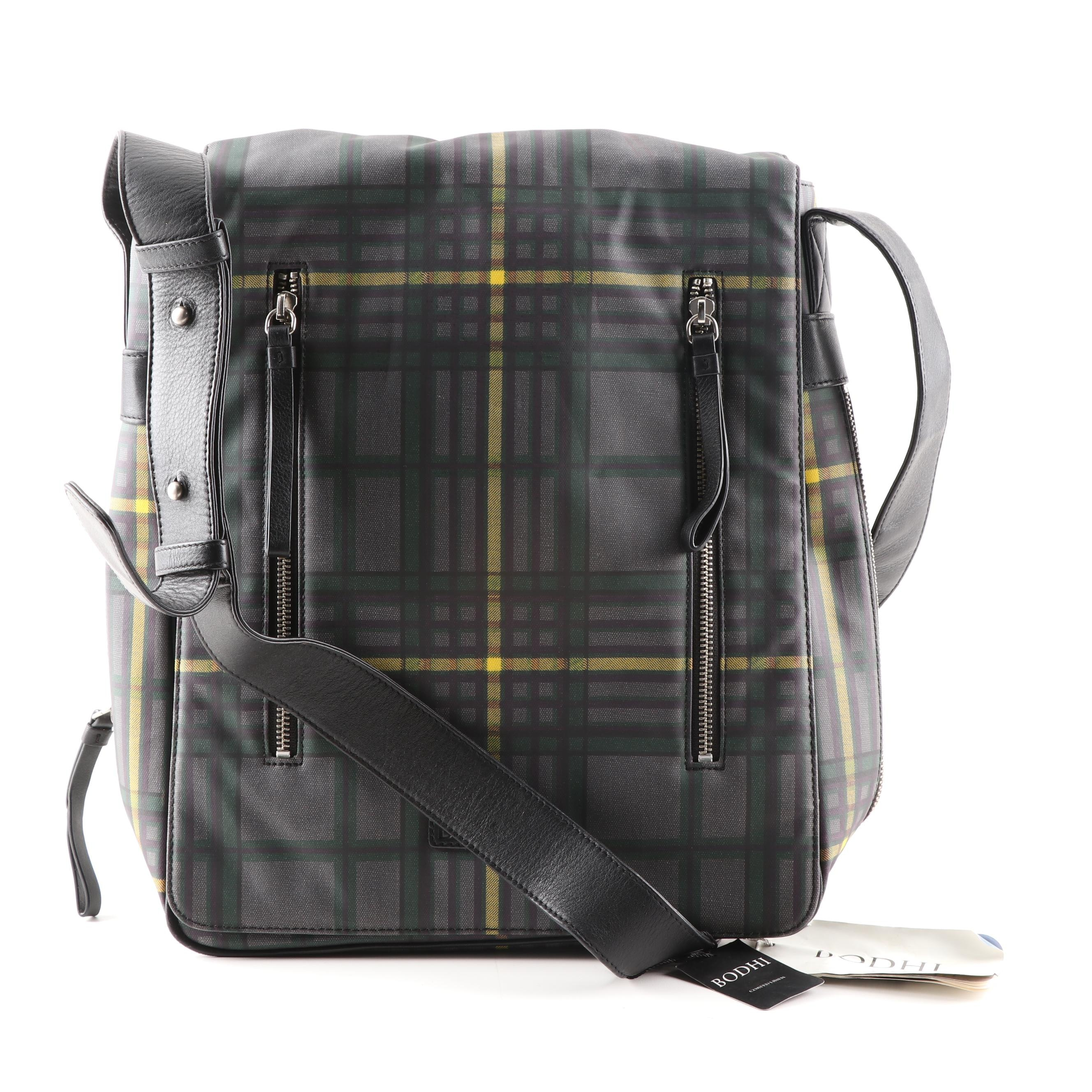 Bodhi Plaid Canvas and Black Leather Laptop Crossbody Bag