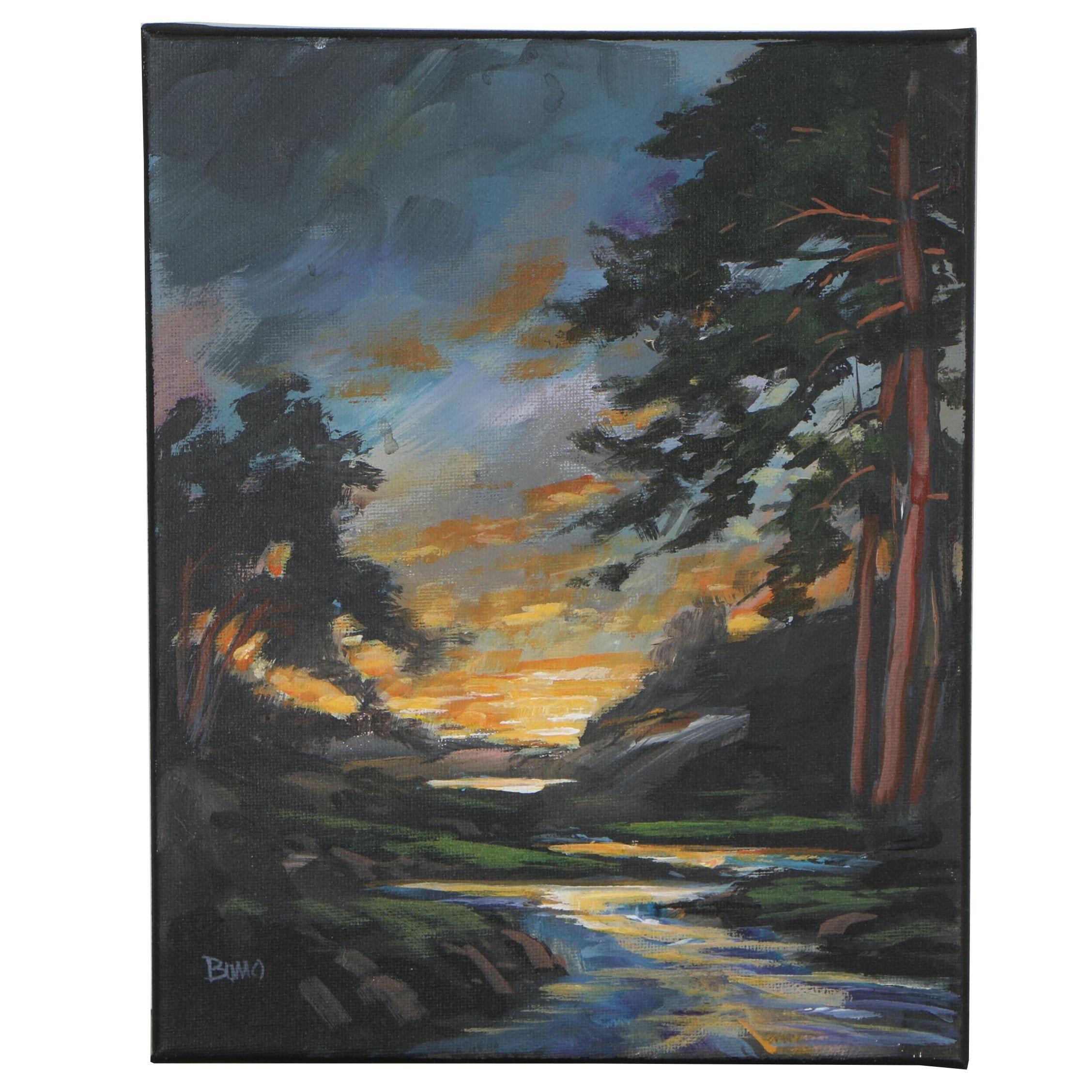 """Douglas """"Bumo"""" Johnpeer Oil Painting """"Creekside Pines"""""""