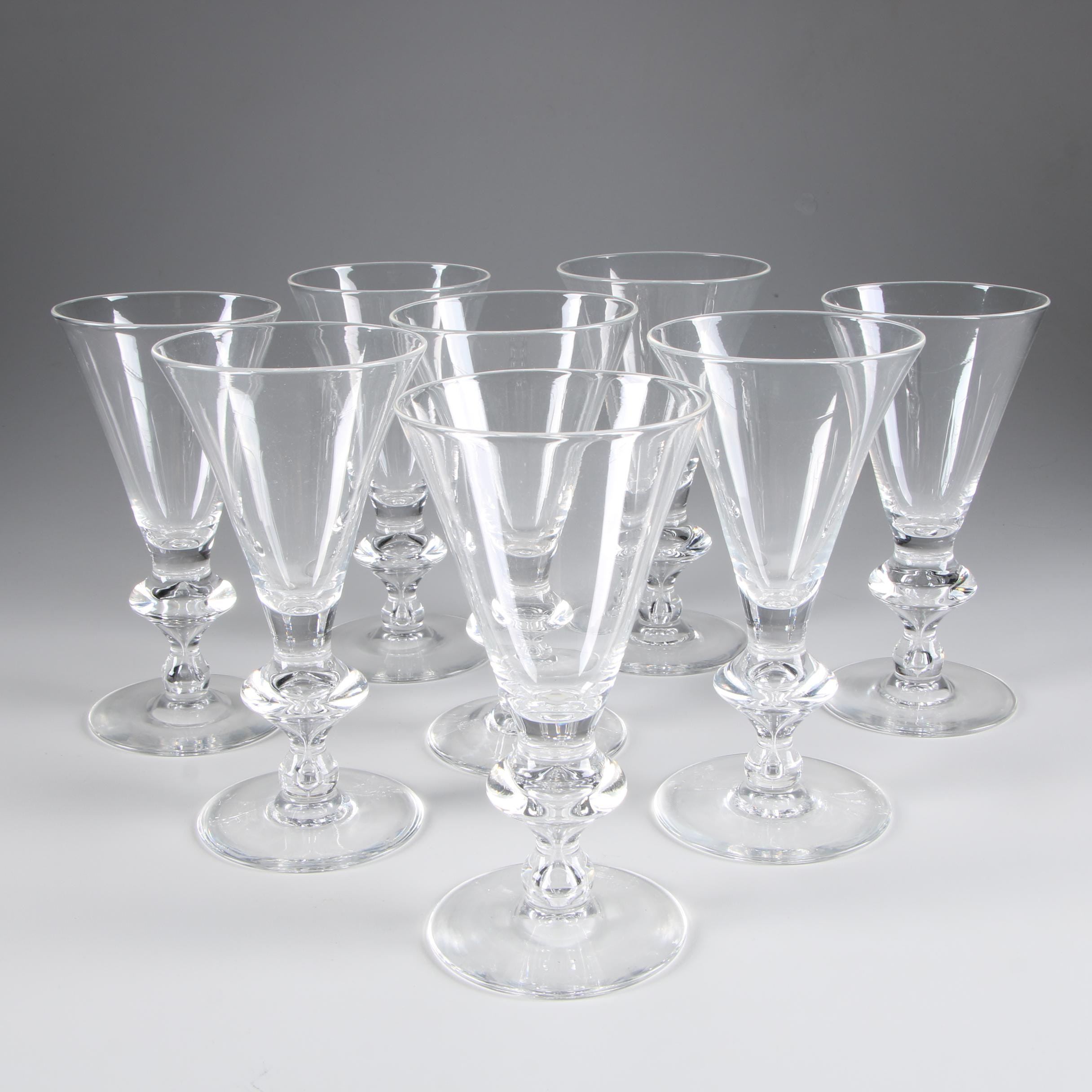 Steuben Art Glass Water Goblets Designed by Sidney Waugh, Circa 1930s