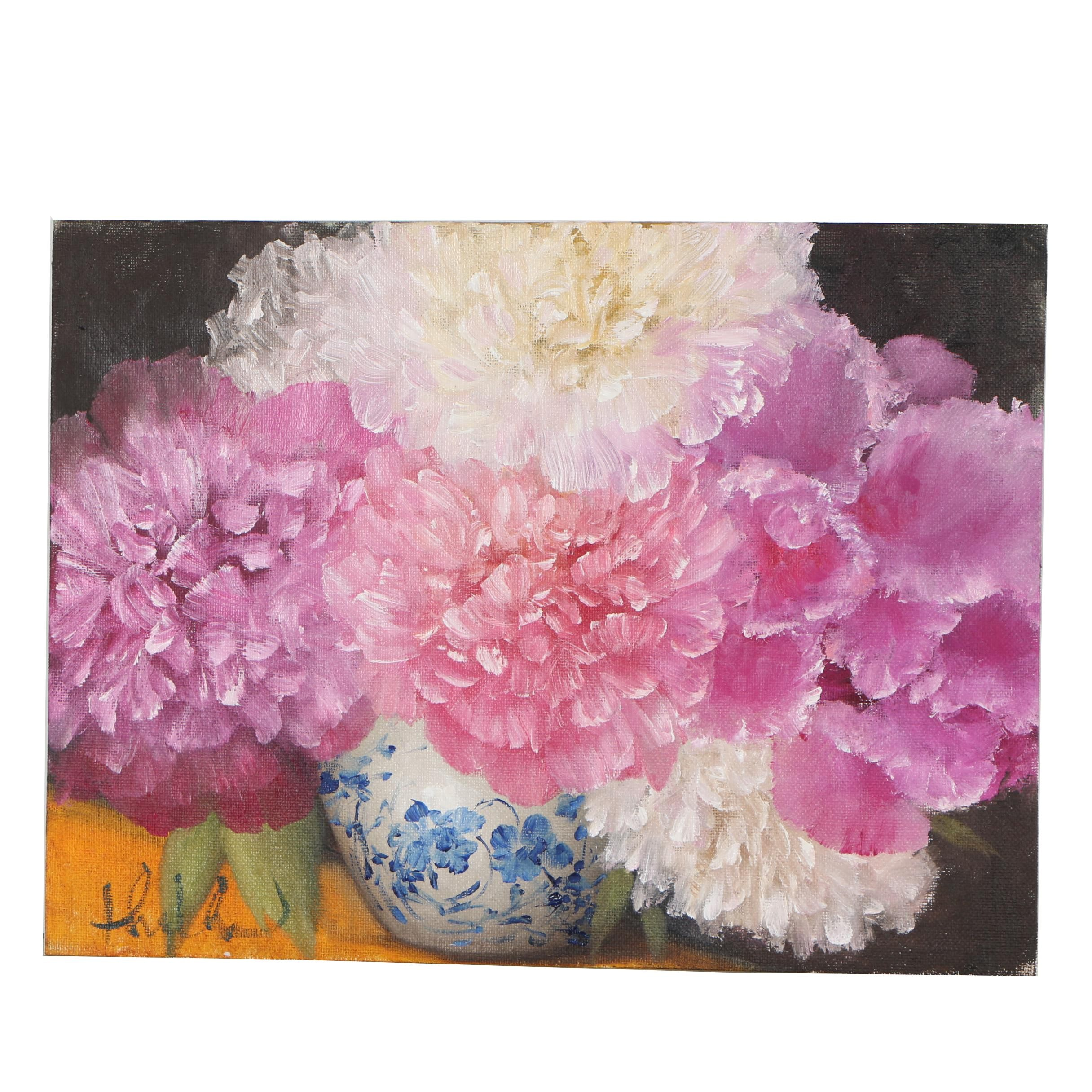 "Thuthuy Tran Oil Painting ""Peonies and Orchids"""