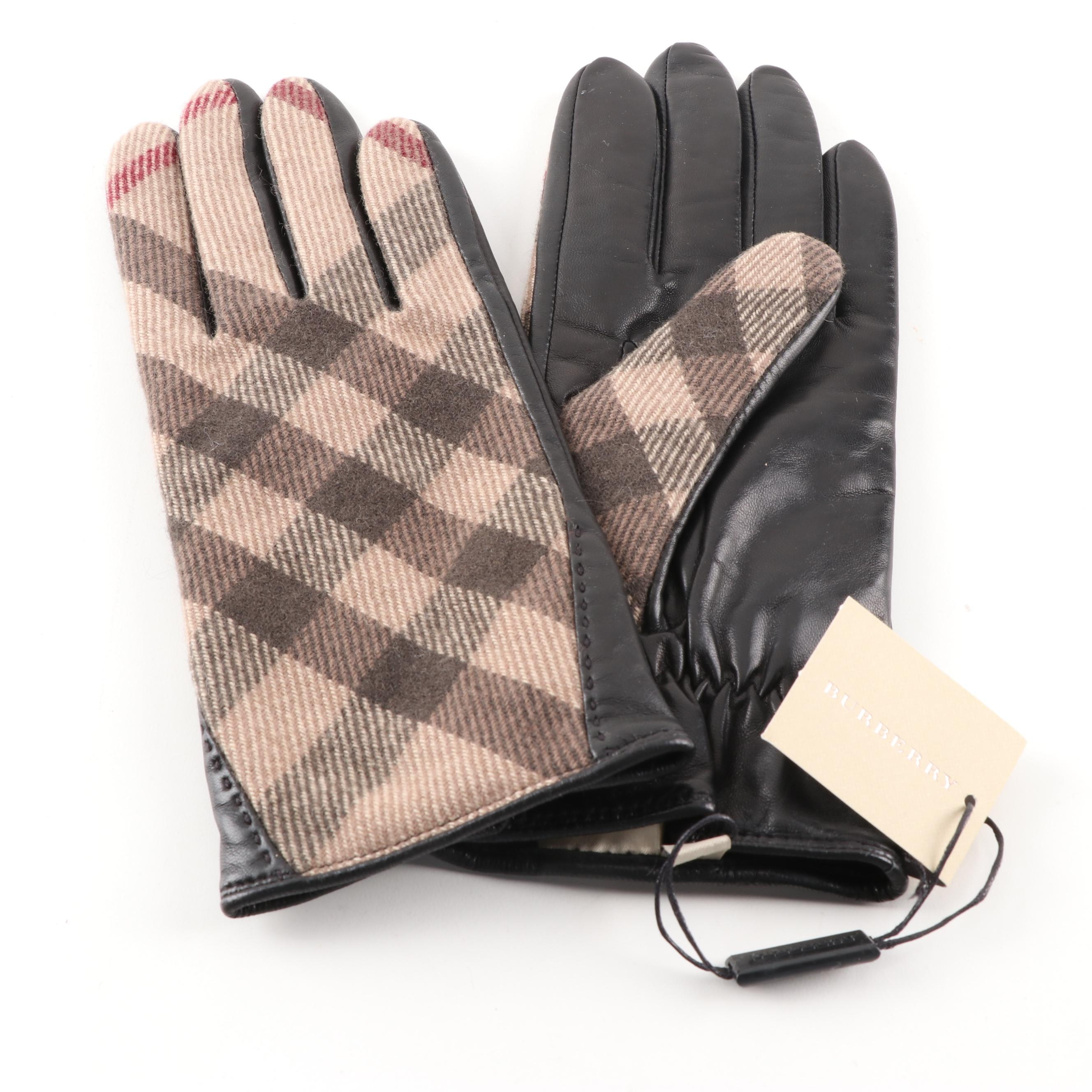Burberry Wool Check Jenny Gloves