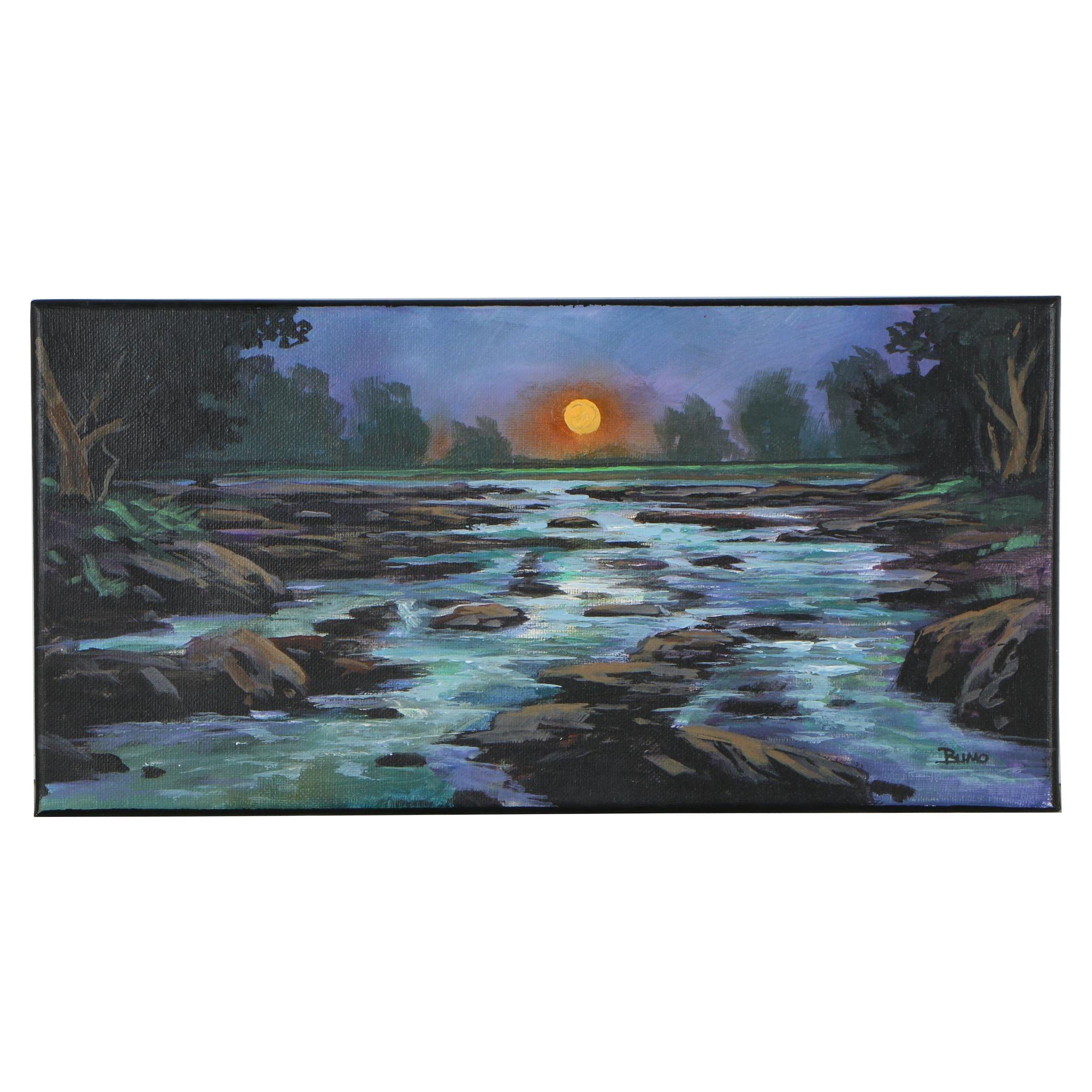 "Douglas ""Bumo"" Johnpeer Oil Painting ""North Fork"""