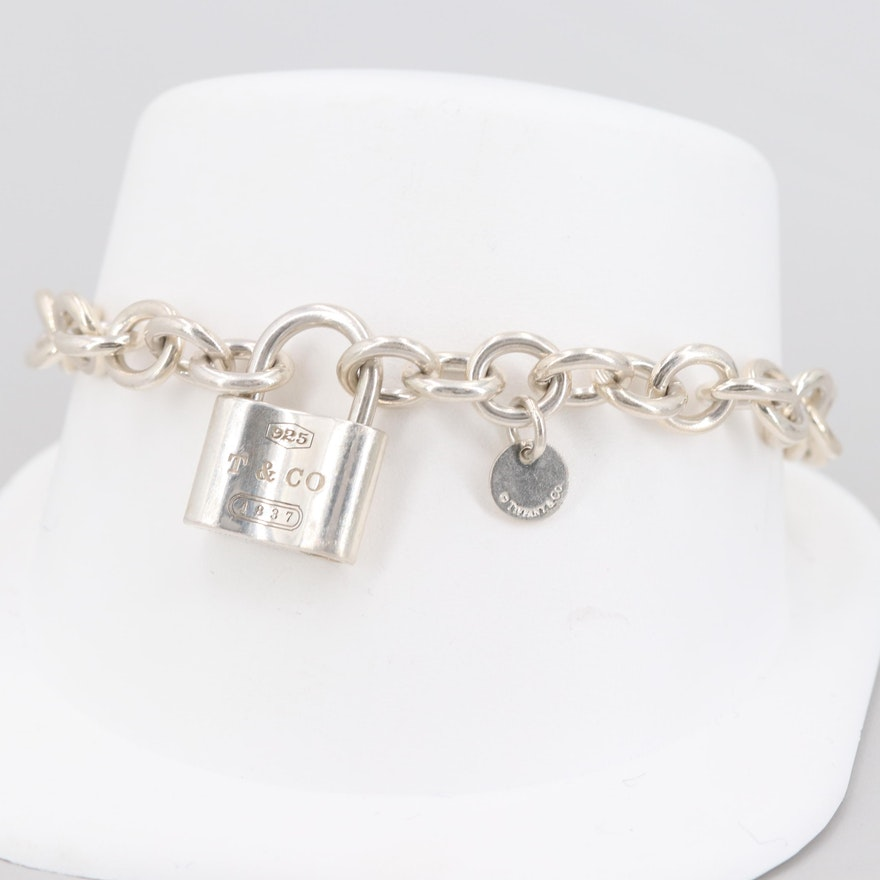 f5cf92b9f Tiffany & Co. Sterling Silver 1837 Collection Lock Chain Link Bracelet ...