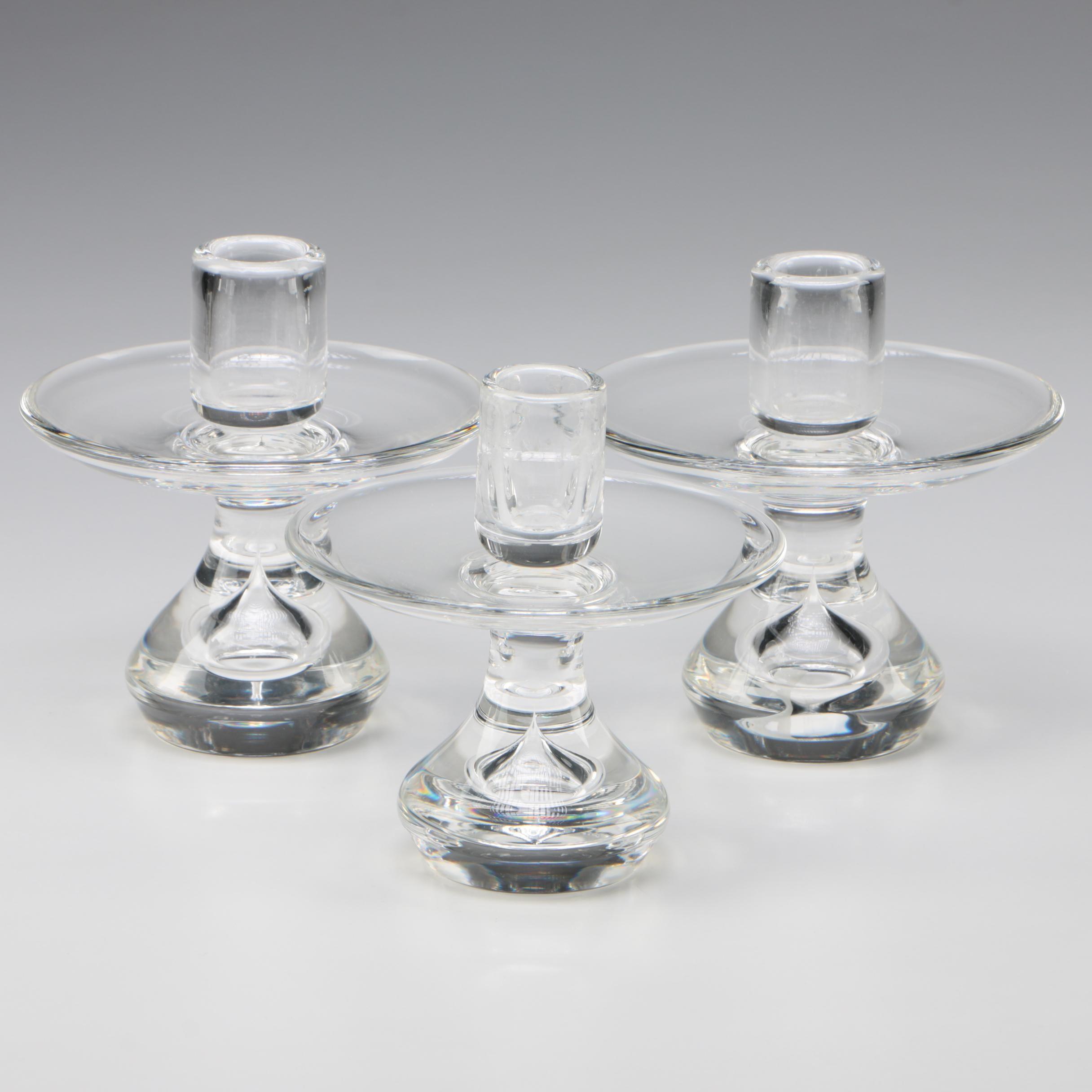 """Steuben Art Glass """"Teardrop"""" Candlesticks Designed by Donald Pollard, 1952"""