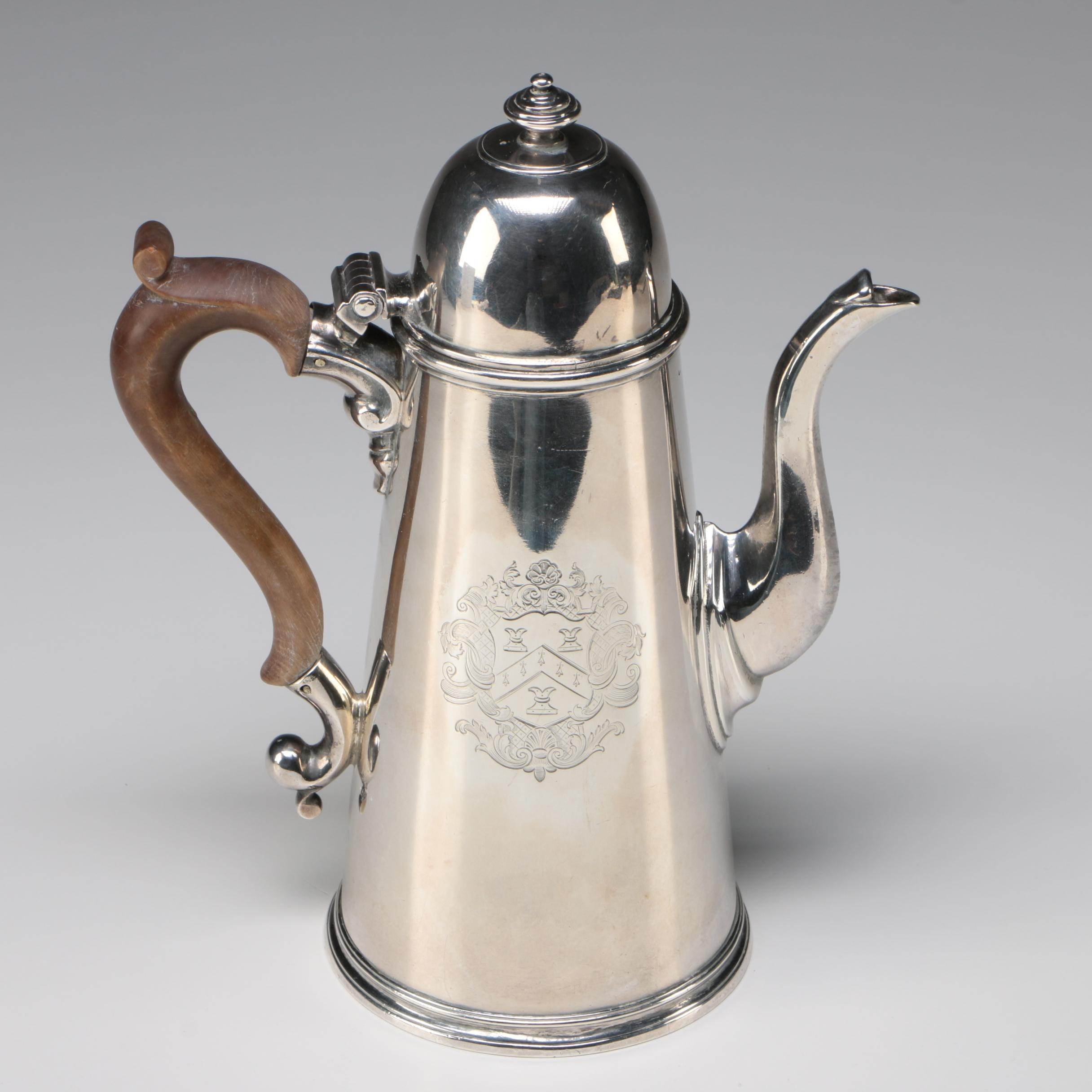 George II Sterling Silver Coffee Server, London 1722