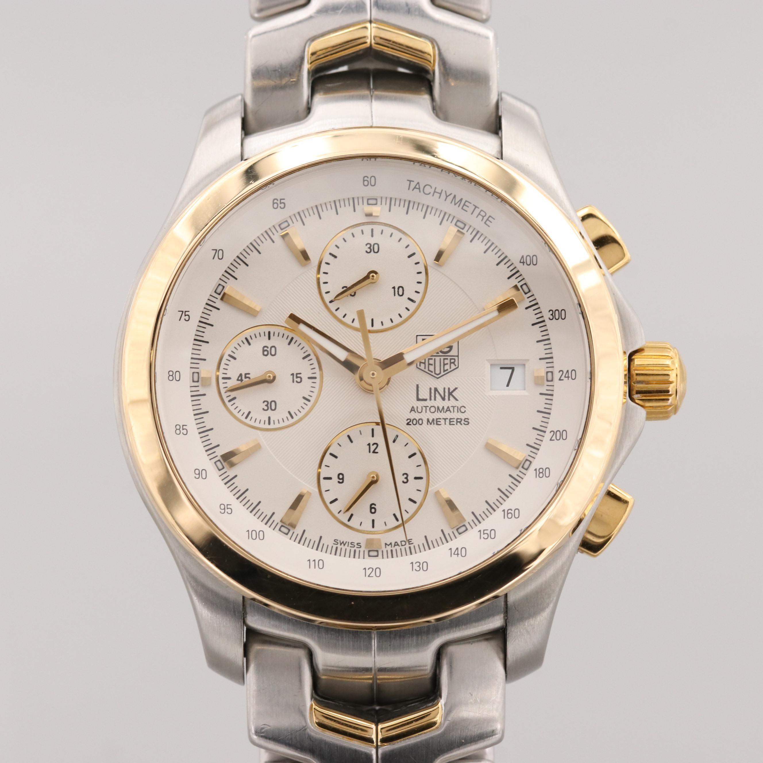TAG Heuer Link Stainless Steel, 18K Yellow Gold Automatic Chronograph Wristwatch