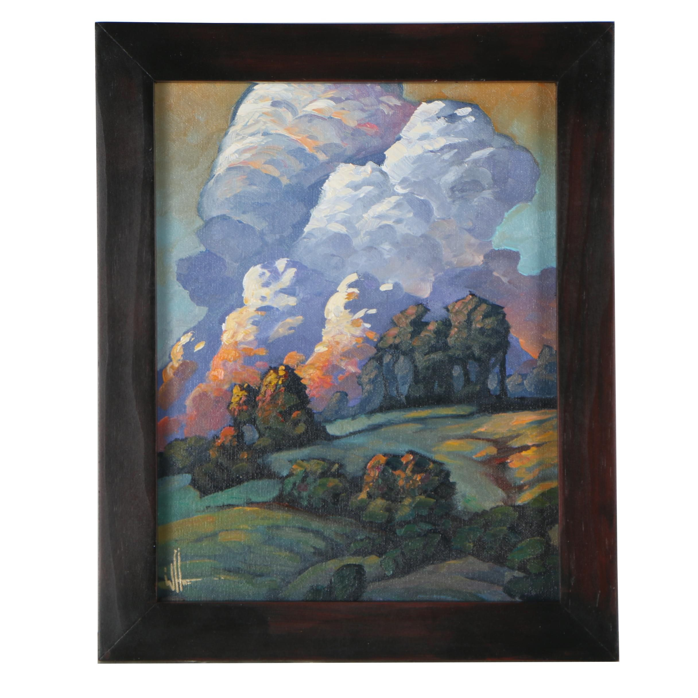 "William Hawkins Oil Painting ""On Yonder Hills"""