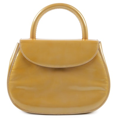 6e6fd419f1c Marni Patent Coated Textured Green Leather Hobo Bag with Brown ...