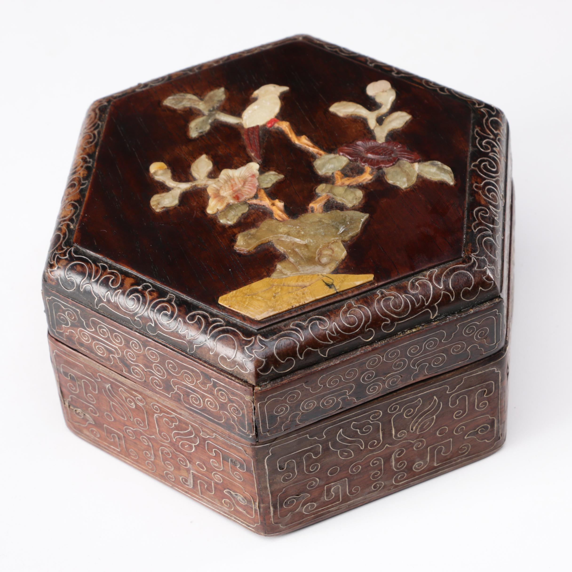 Chinese Octagonal Hardwood Box with Shoushan Soapstone Carving, Qing Dynasty