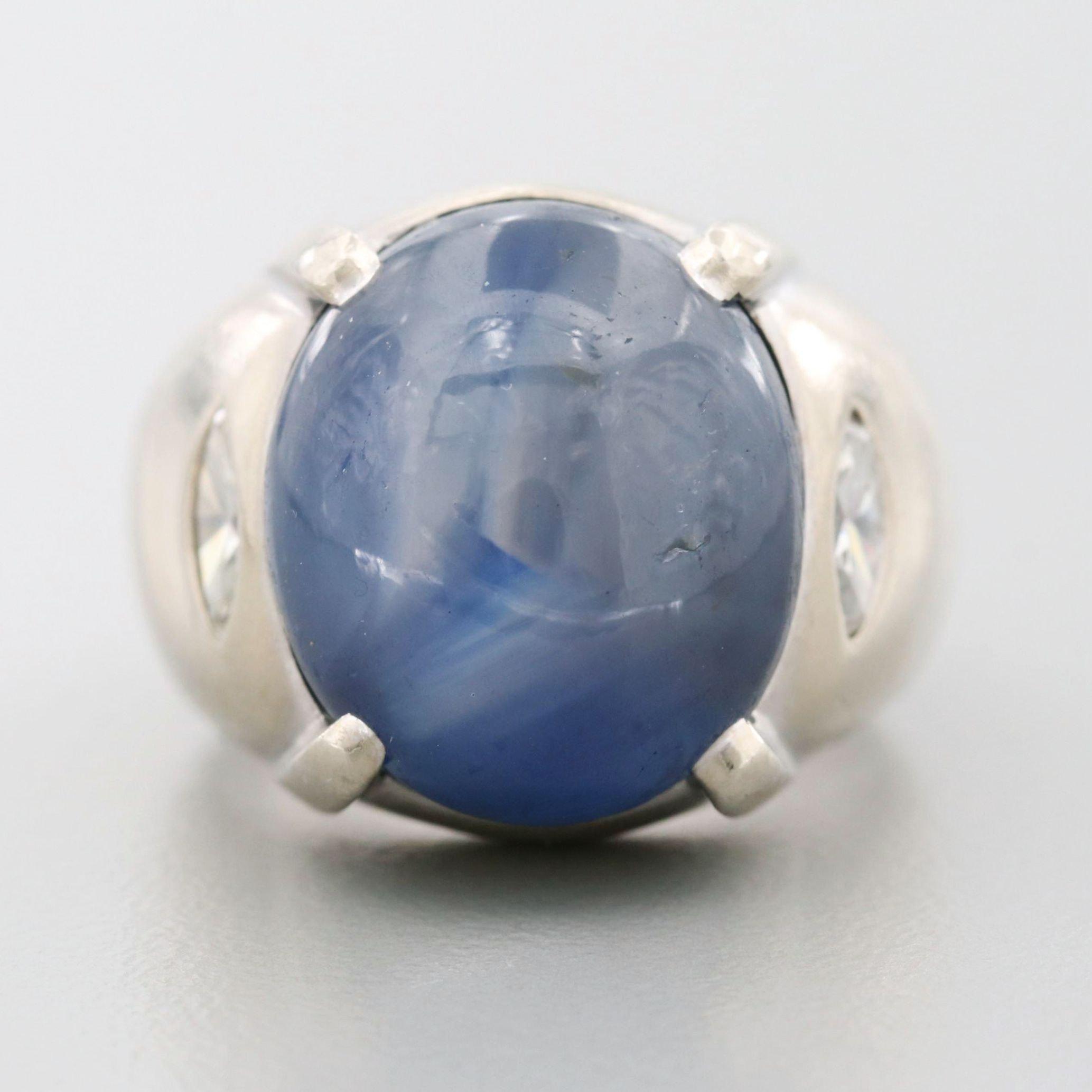 14K White Gold 20.31 CT Star Sapphire and Diamond Ring