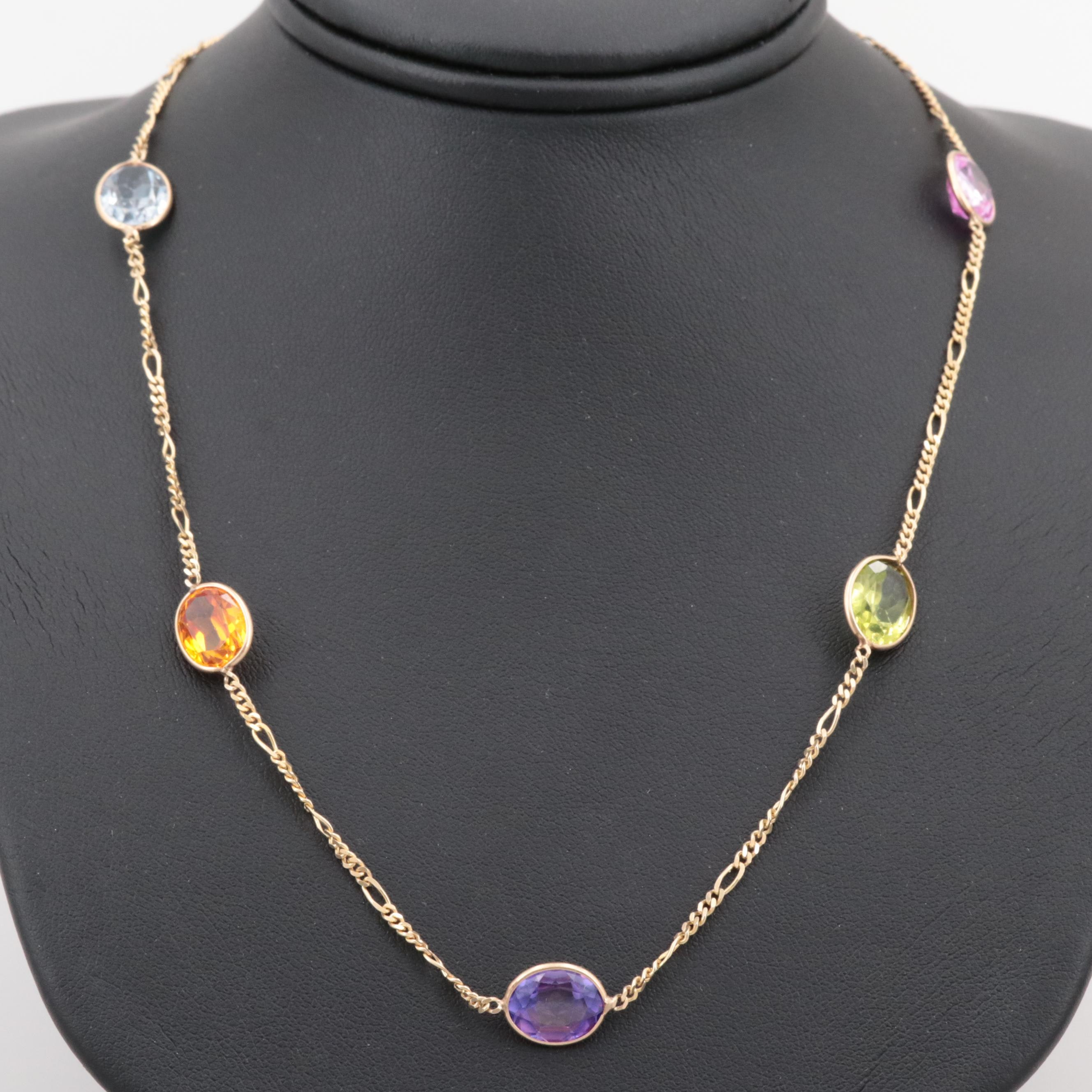 14K Yellow Gold Station Necklace with Sapphire, Peridot, Garnet and Spinel