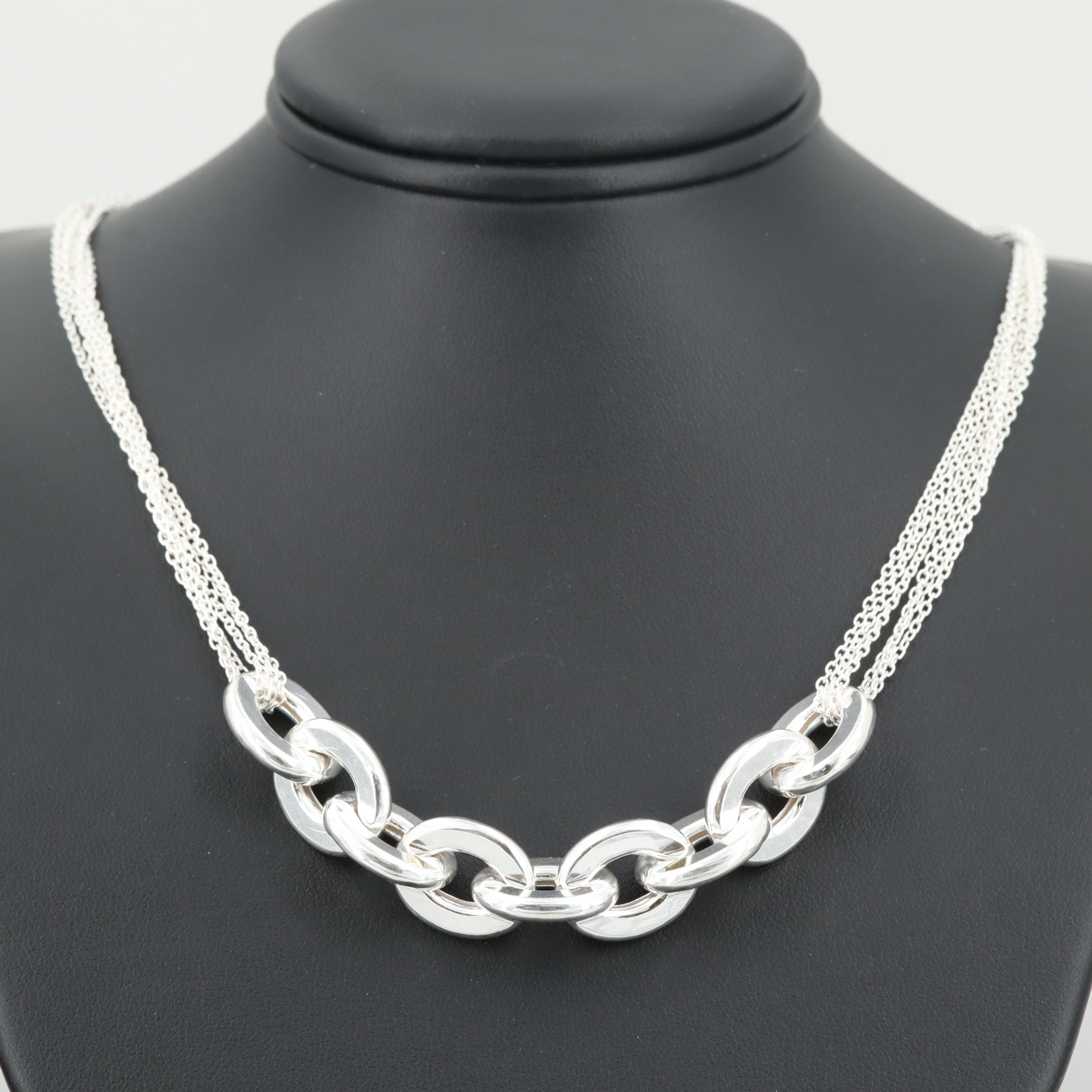 Sterling Silver Necklace with Cable Link Center Accent