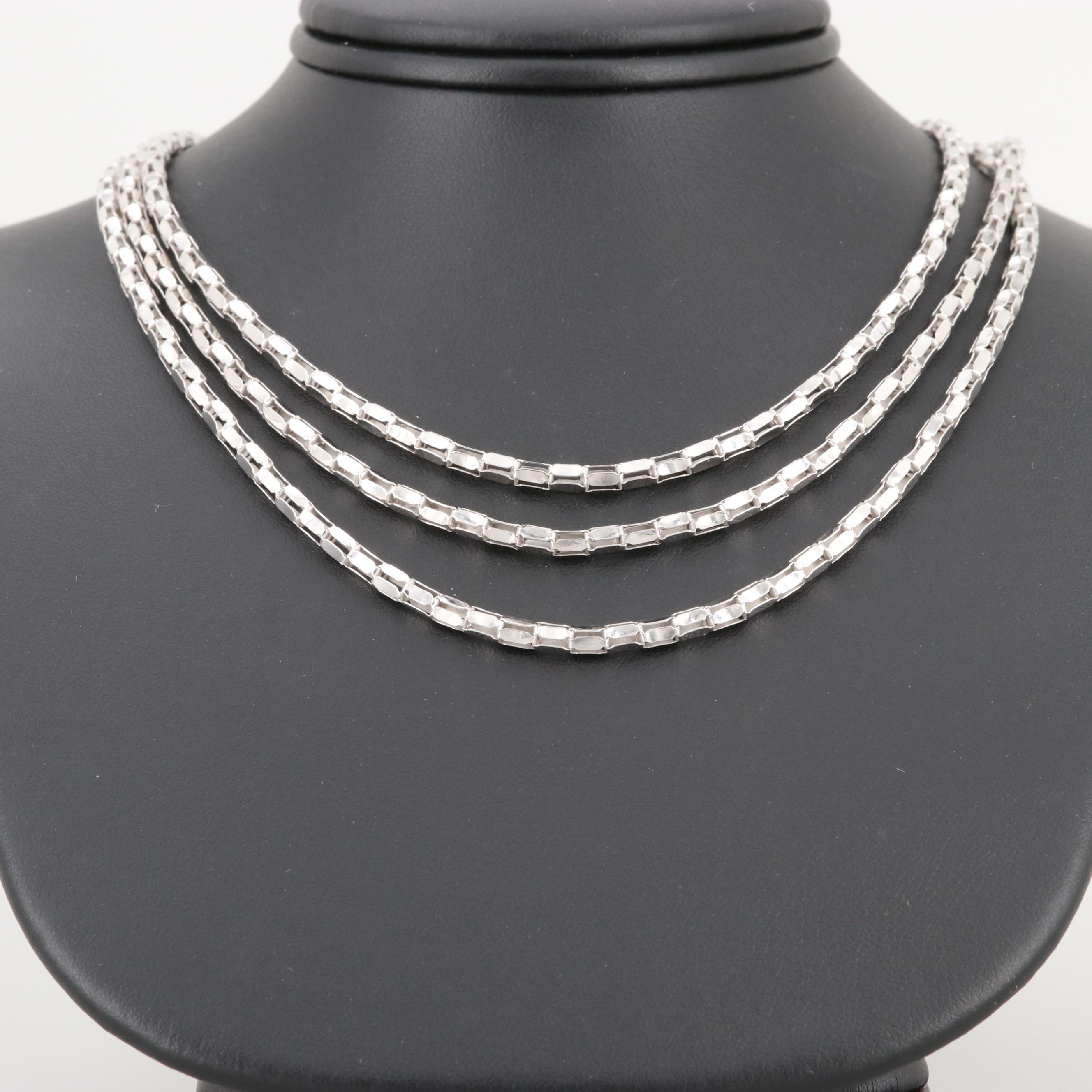Sterling Silver Graduated Length Multi Chain Necklace