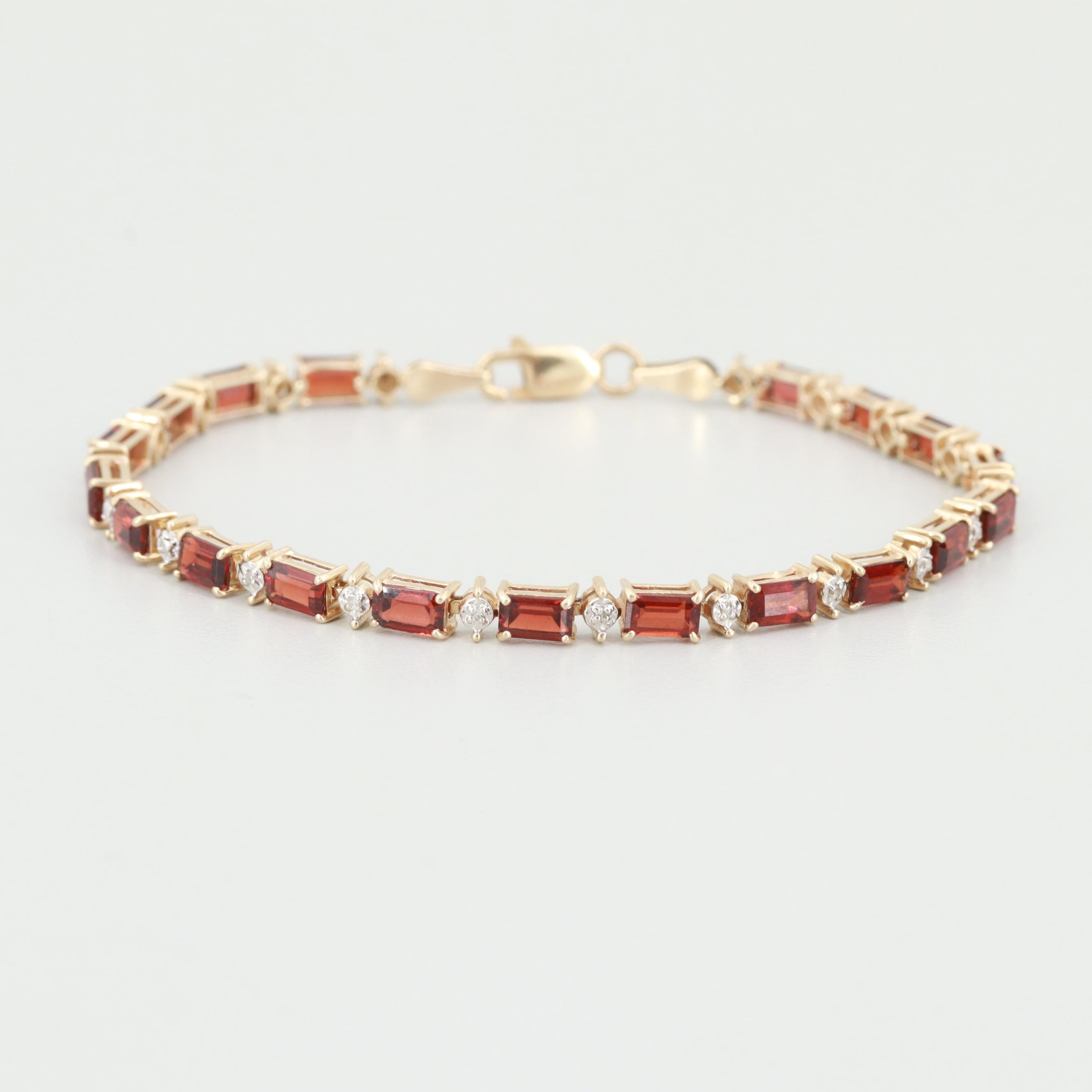 10K Yellow Gold Garnet and Diamond Bracelet