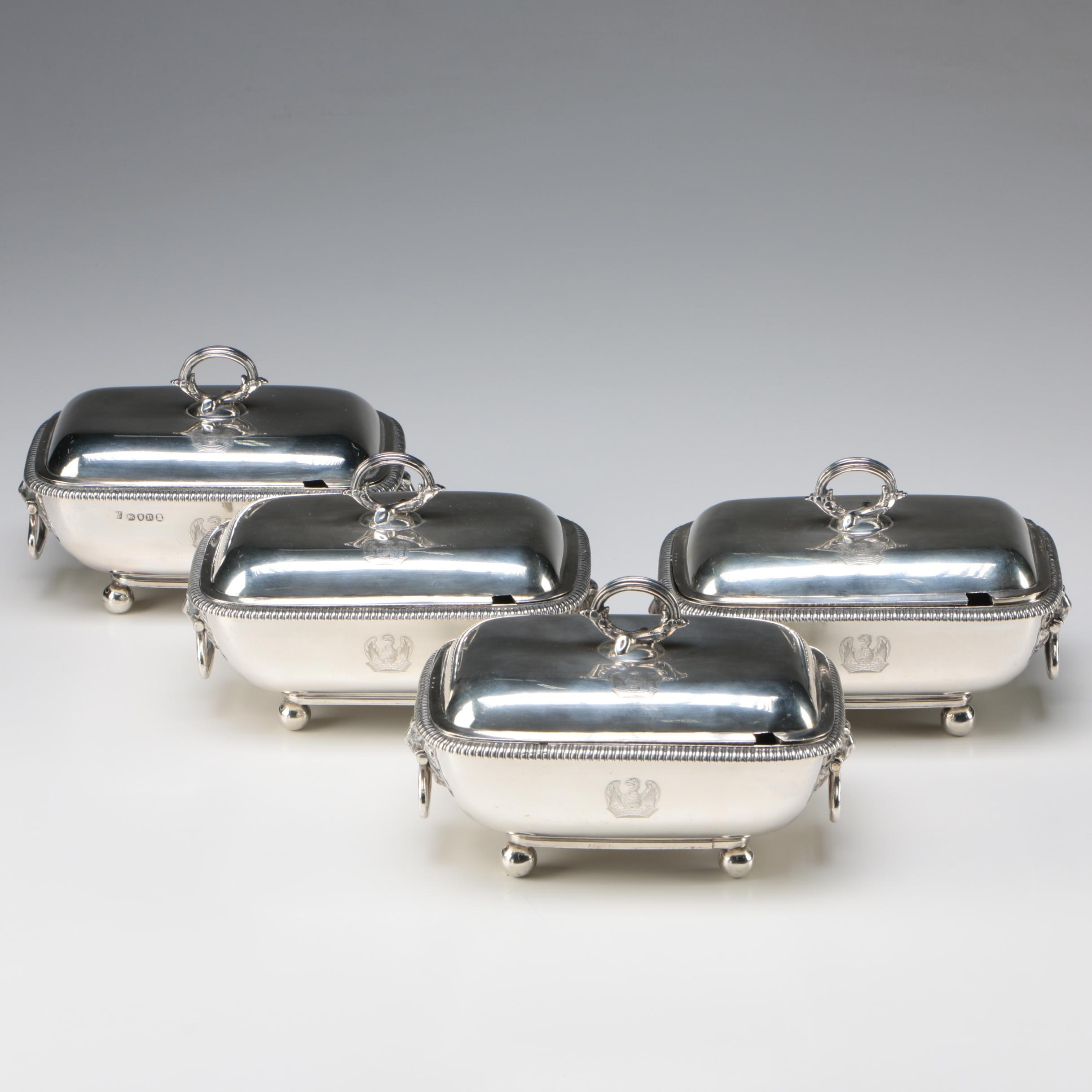 Four George III Sterling Silver Covered Servers, William and John Frisbee, 1812