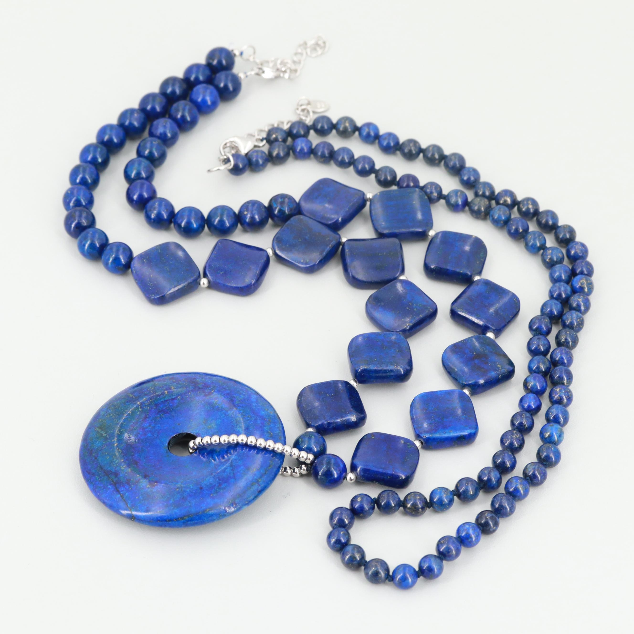 Sterling Silver Dyed Lapis Lazuli Necklaces