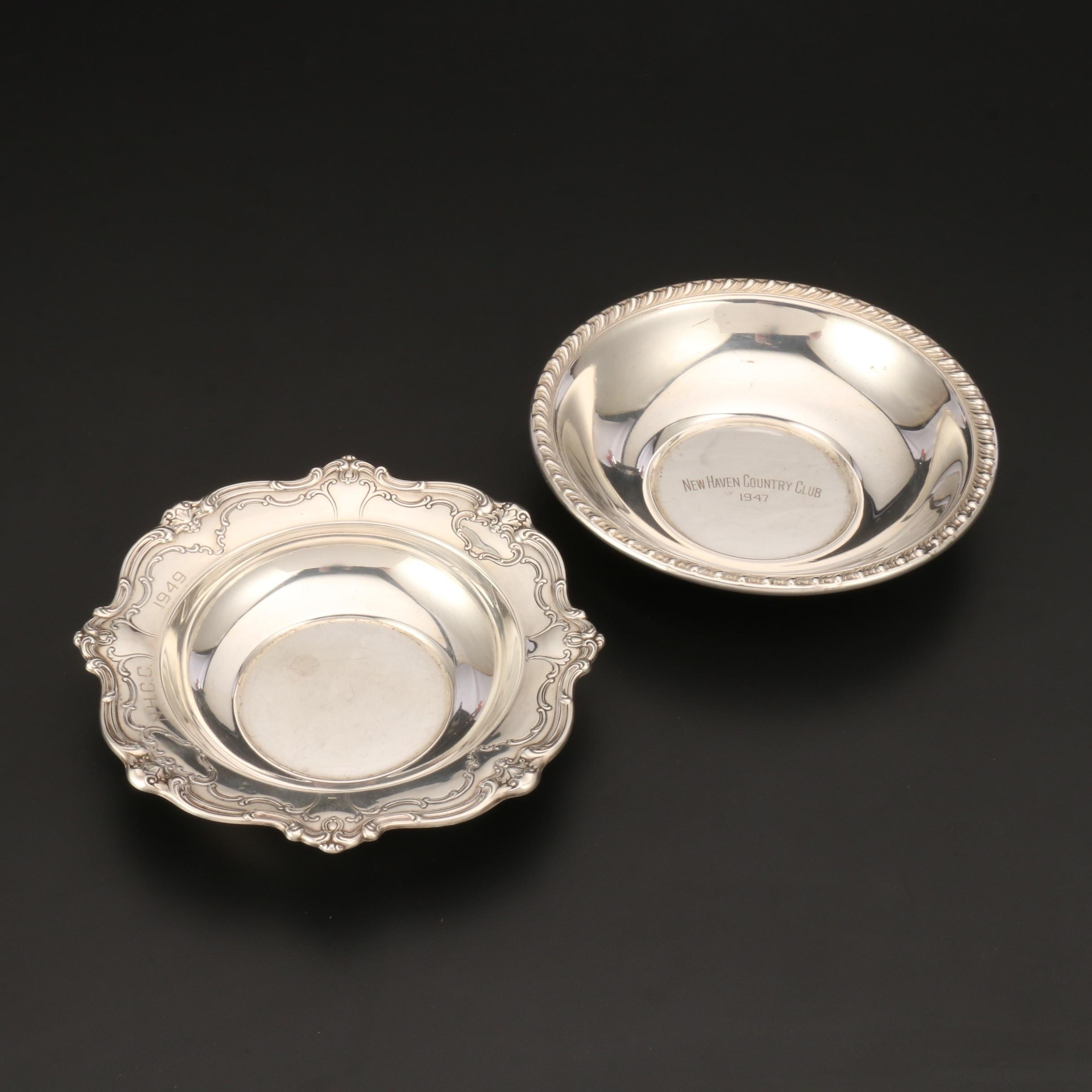 Sterling Silver Presentation Bowls From New Haven Country Club, 1940s