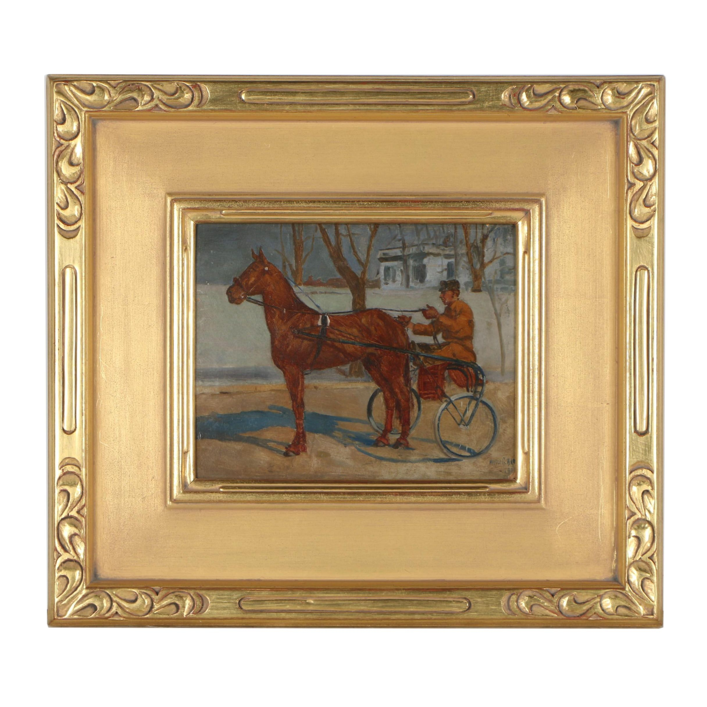 Harold G. Breul Early 20th Century Oil Painting of Horse and Sulky