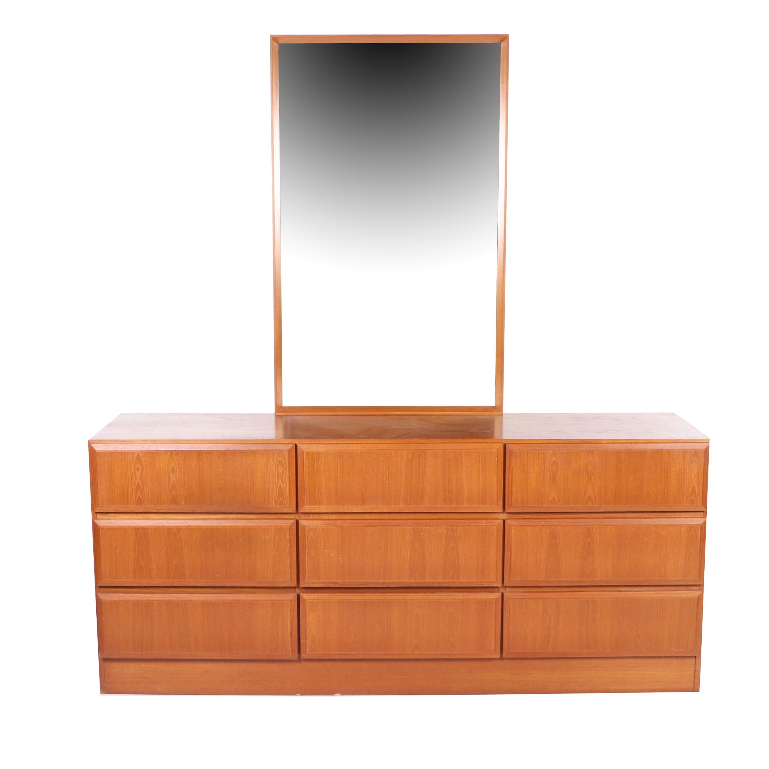 Danish Modern Dresser with Mirror, Mid-Century