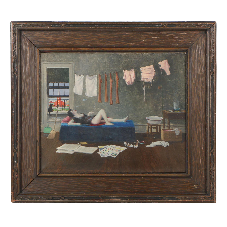 "Lester J. Ambrose Oil Painting ""Sunday"", circa 1947"