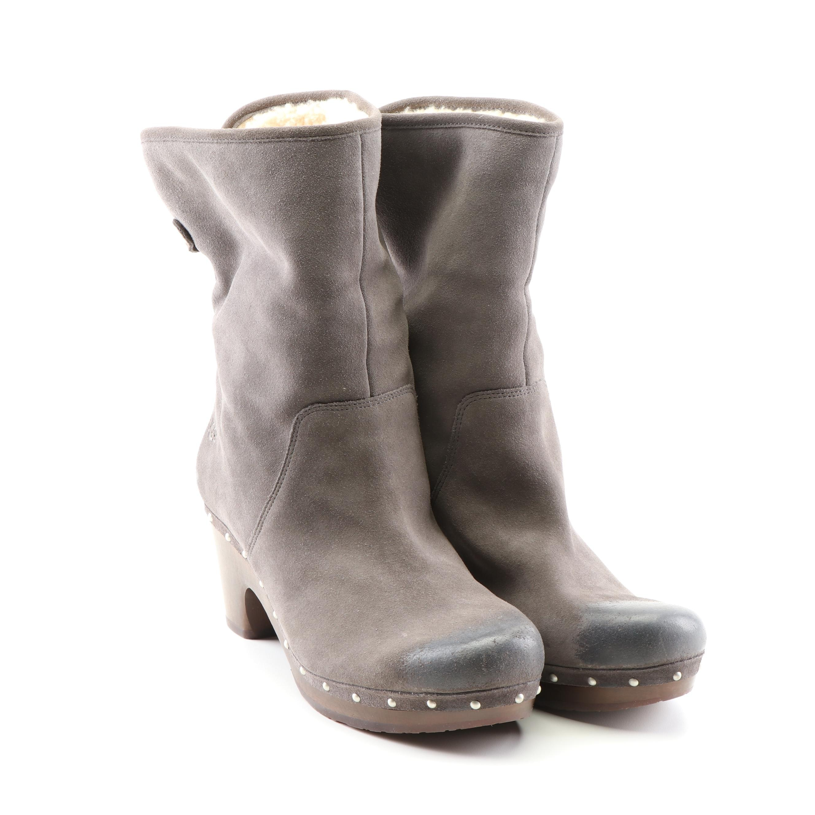 Ugg Australia Gray Suede and Shearling Clog Boots