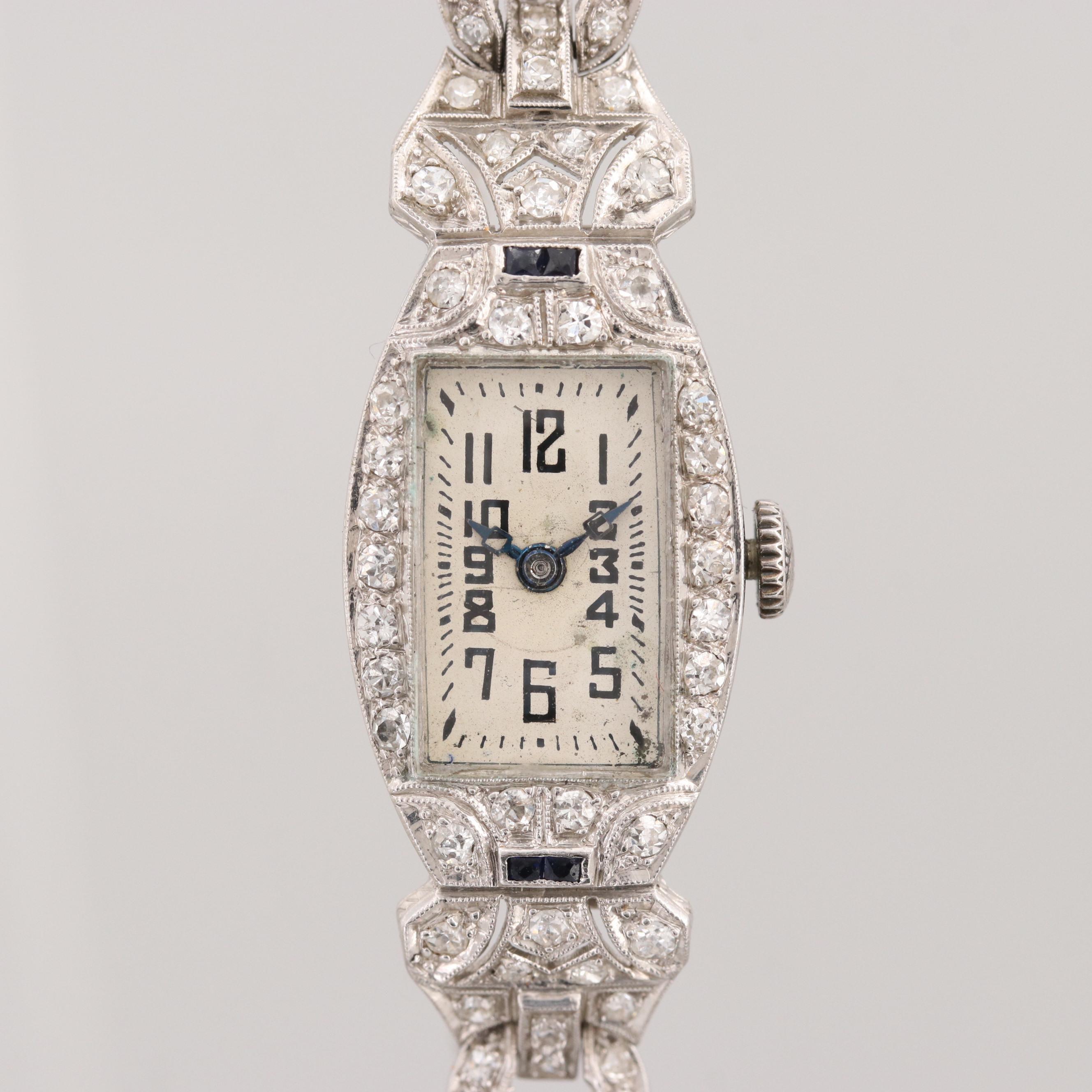 Vintage J. Lafond Platinum 1.72 CTW Diamond and Sapphire Stem Wind Wristwatch