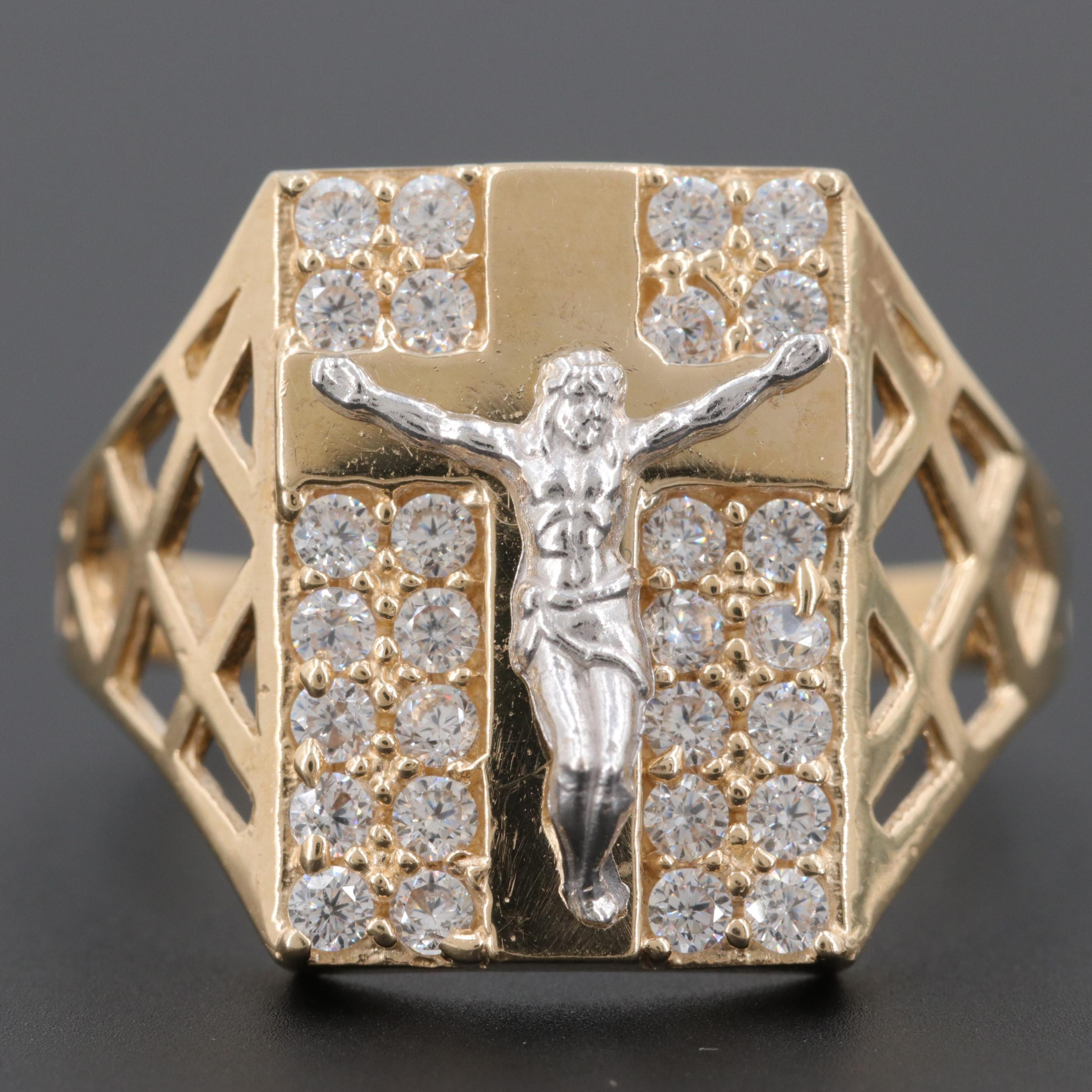 14K Yellow Gold Cubic Zirconia Crucifix Ring with White Gold Accents